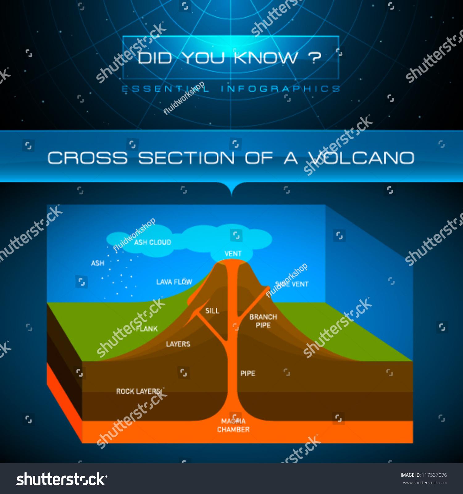 Vector Infographic Cross Section Volcano Stock Vector