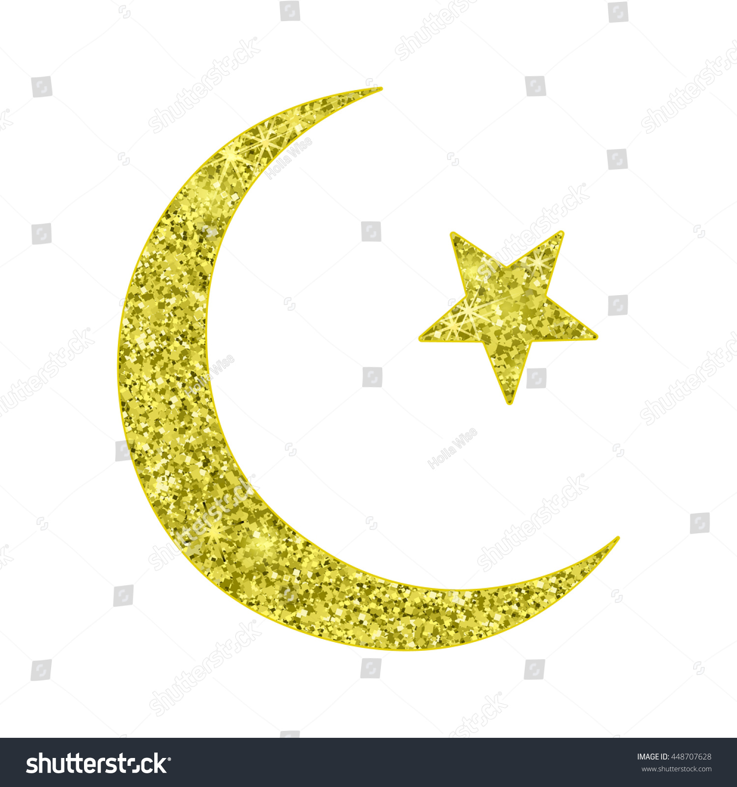 Vector Islamic Sign Isolated Star Crescent Stock Vector