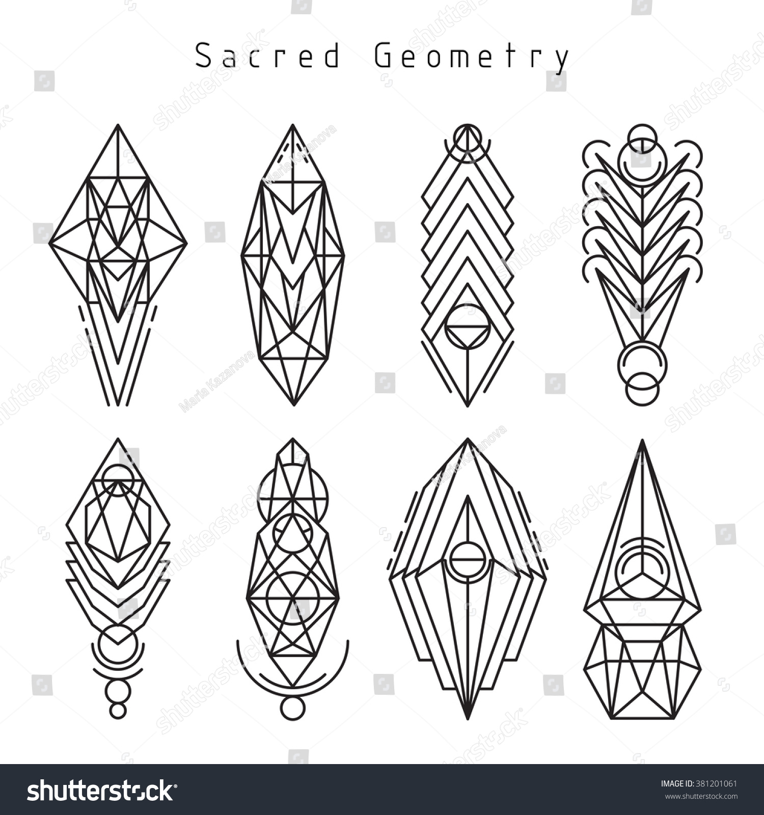 Vector Linear Sacred Geometry Emblem Set Stock Vektor