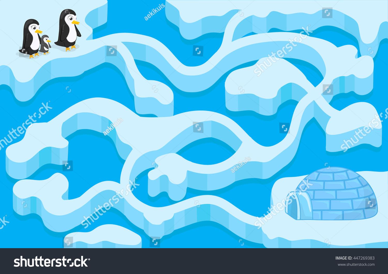 Vector Maze Game Penguin Finding House Stock Vector