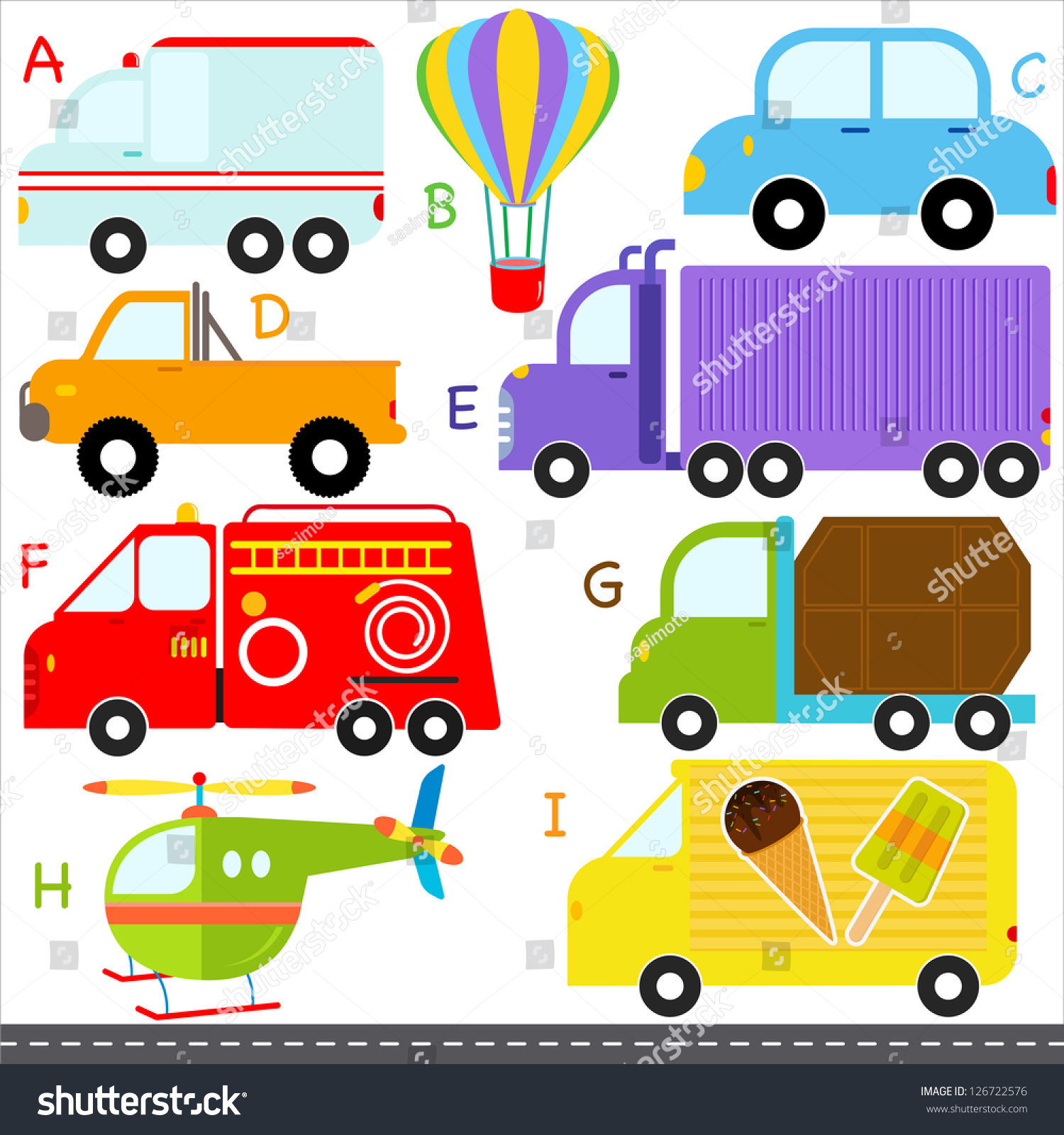 Vector Of Vehicle Transportation Alphabet A