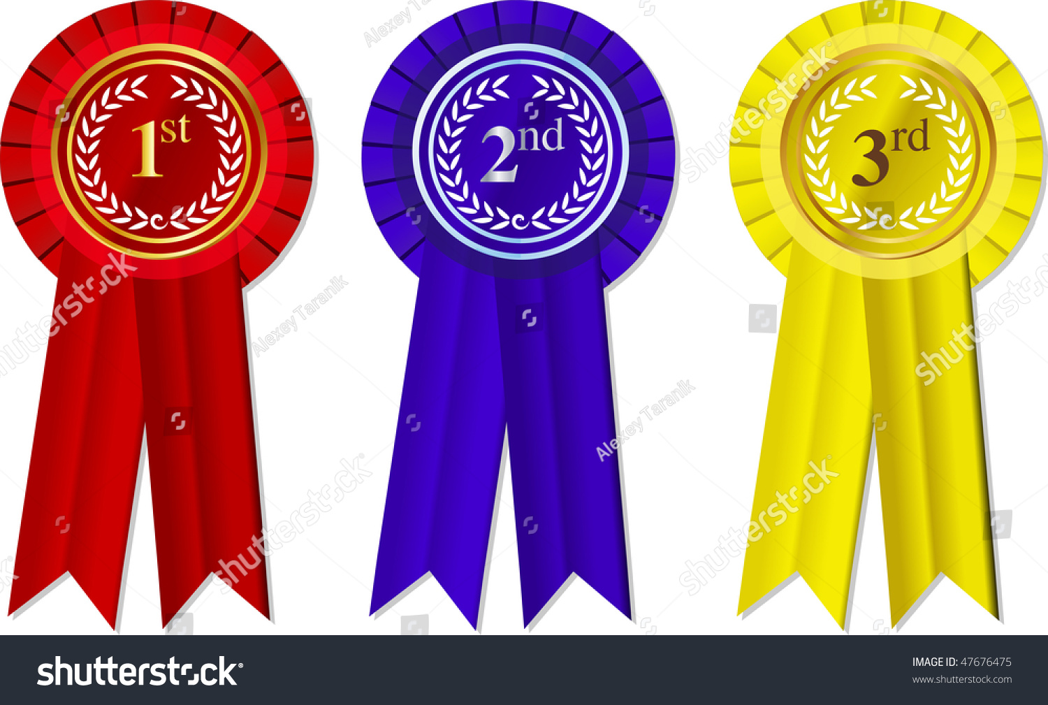 Vector Rosettes Ribbons 1st 2nd 3rd Stock Vector