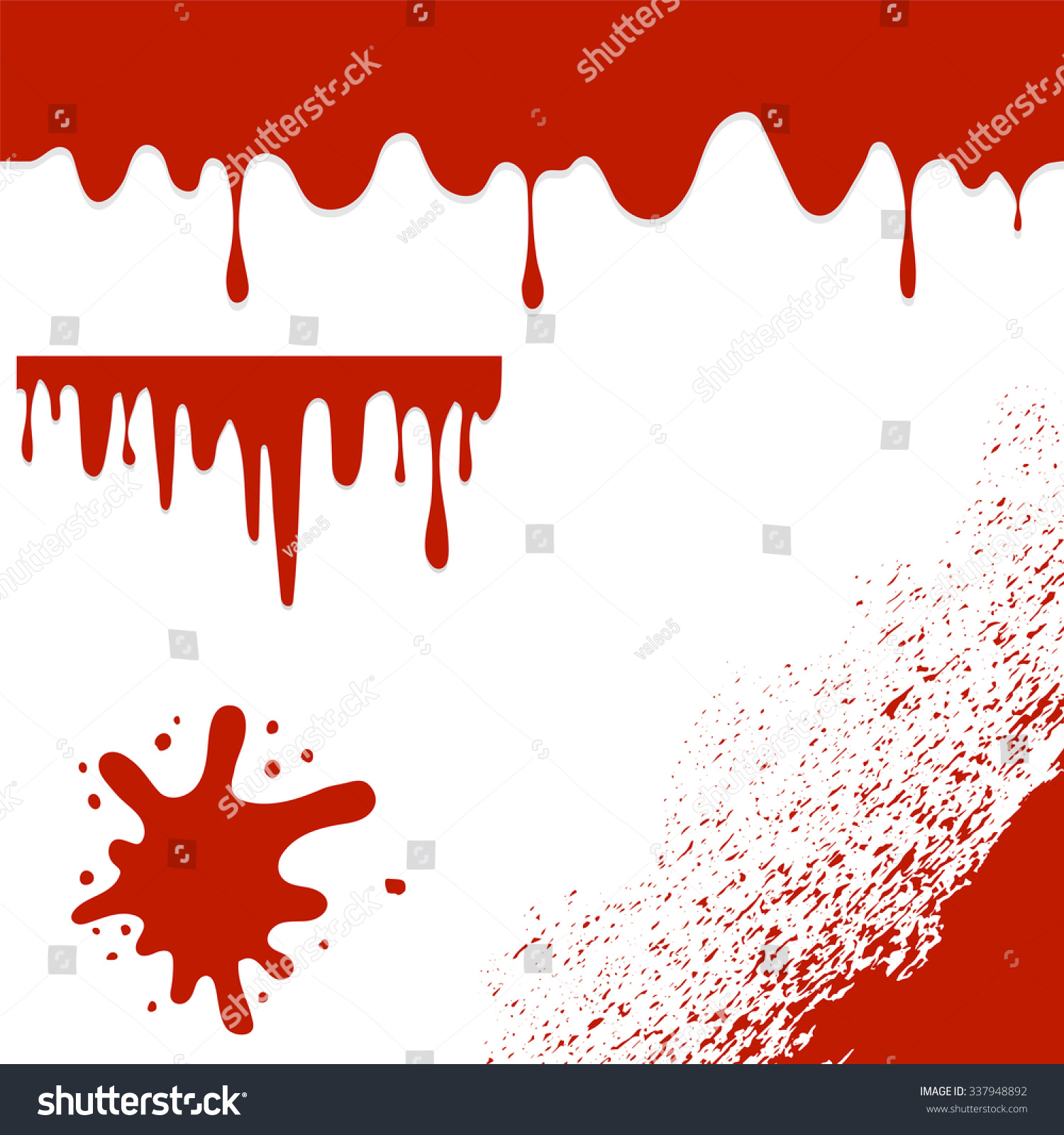Vector Set Of Blood Splatters Isolated On White Background