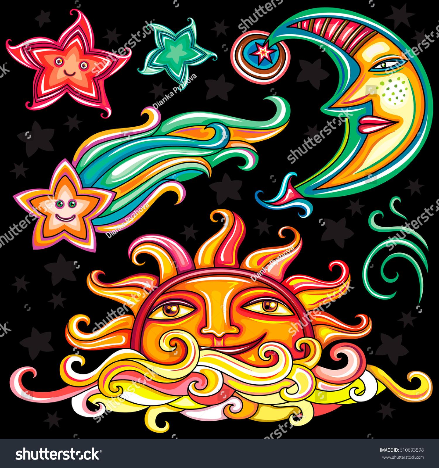 Vector Set Celestial Symbols Sun Moon Stock Vector