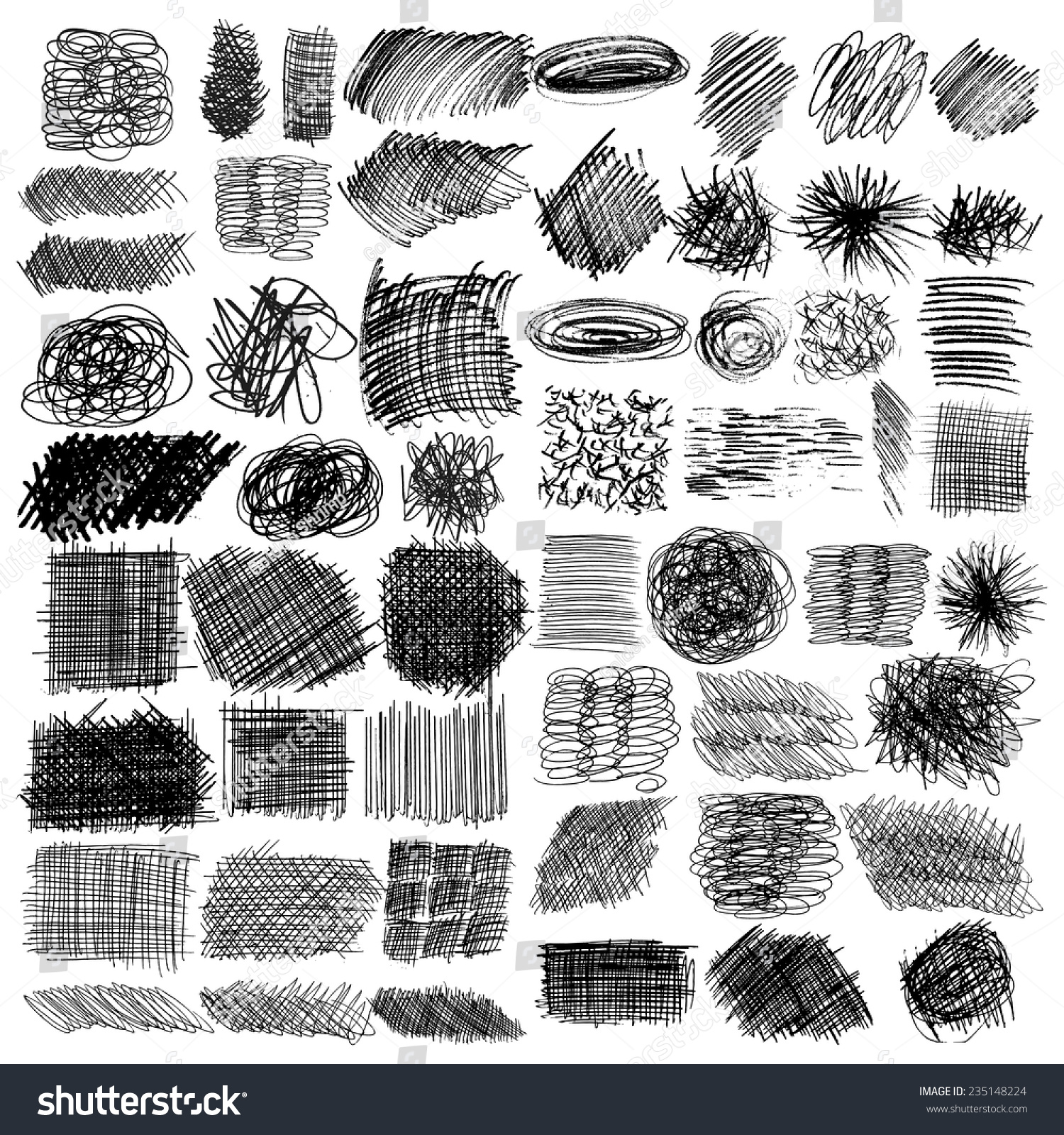 Vector Set Ink Lines Set Hand Stock Vector