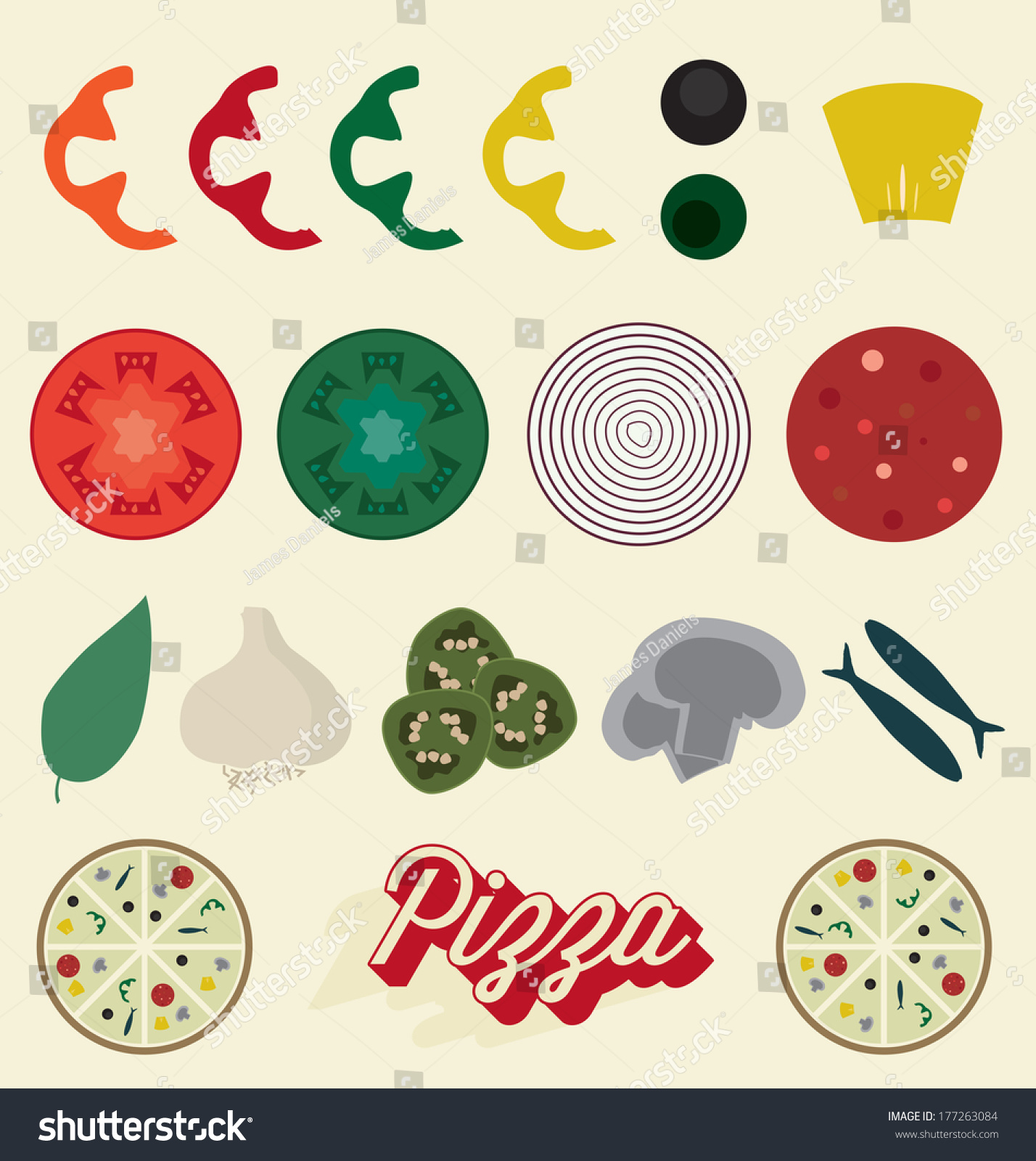 Vector Set Pizza Toppings Collection Stock Vector