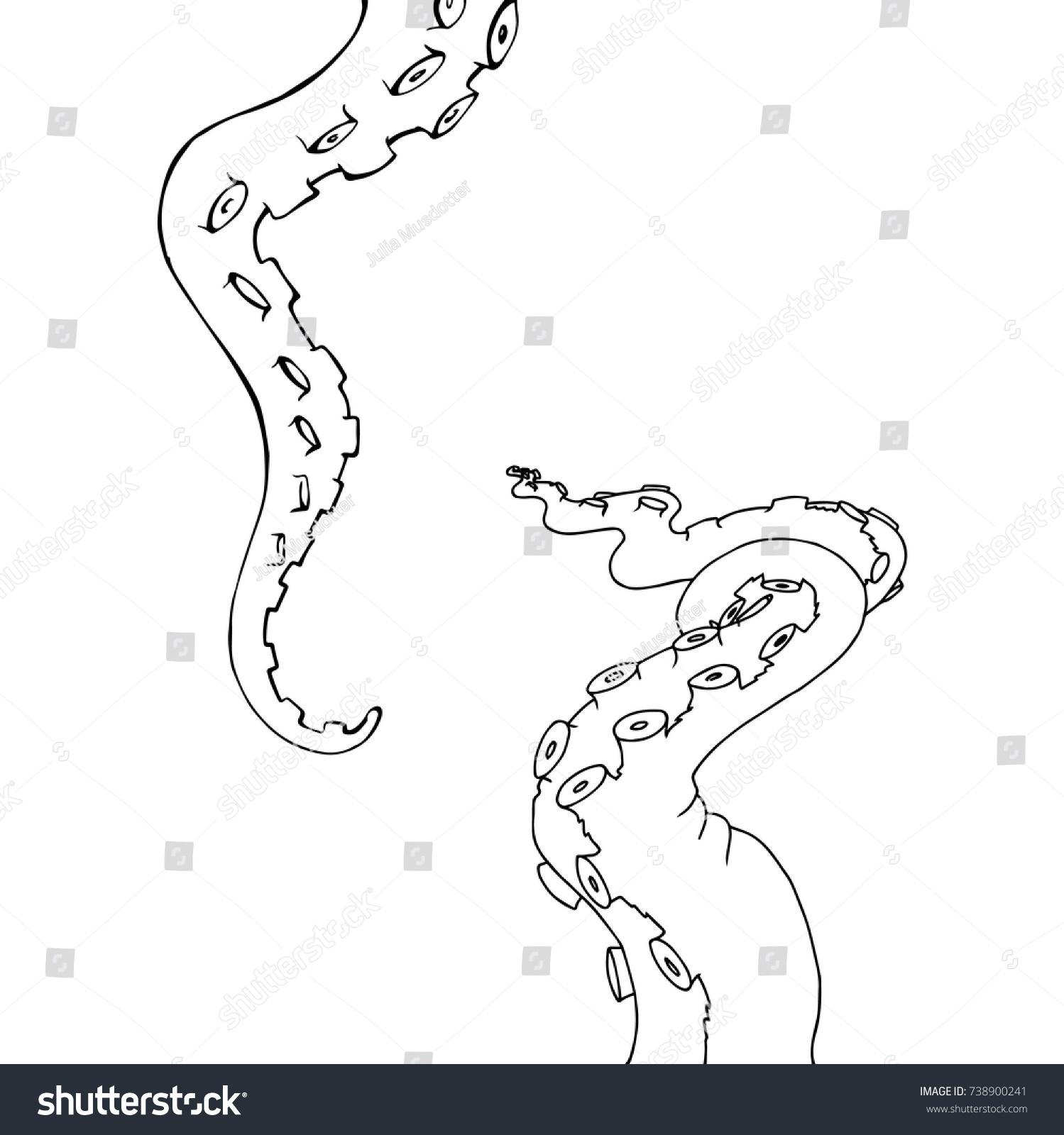 Vector Sketch Cartoon Octopus Tentacles Stock Vector