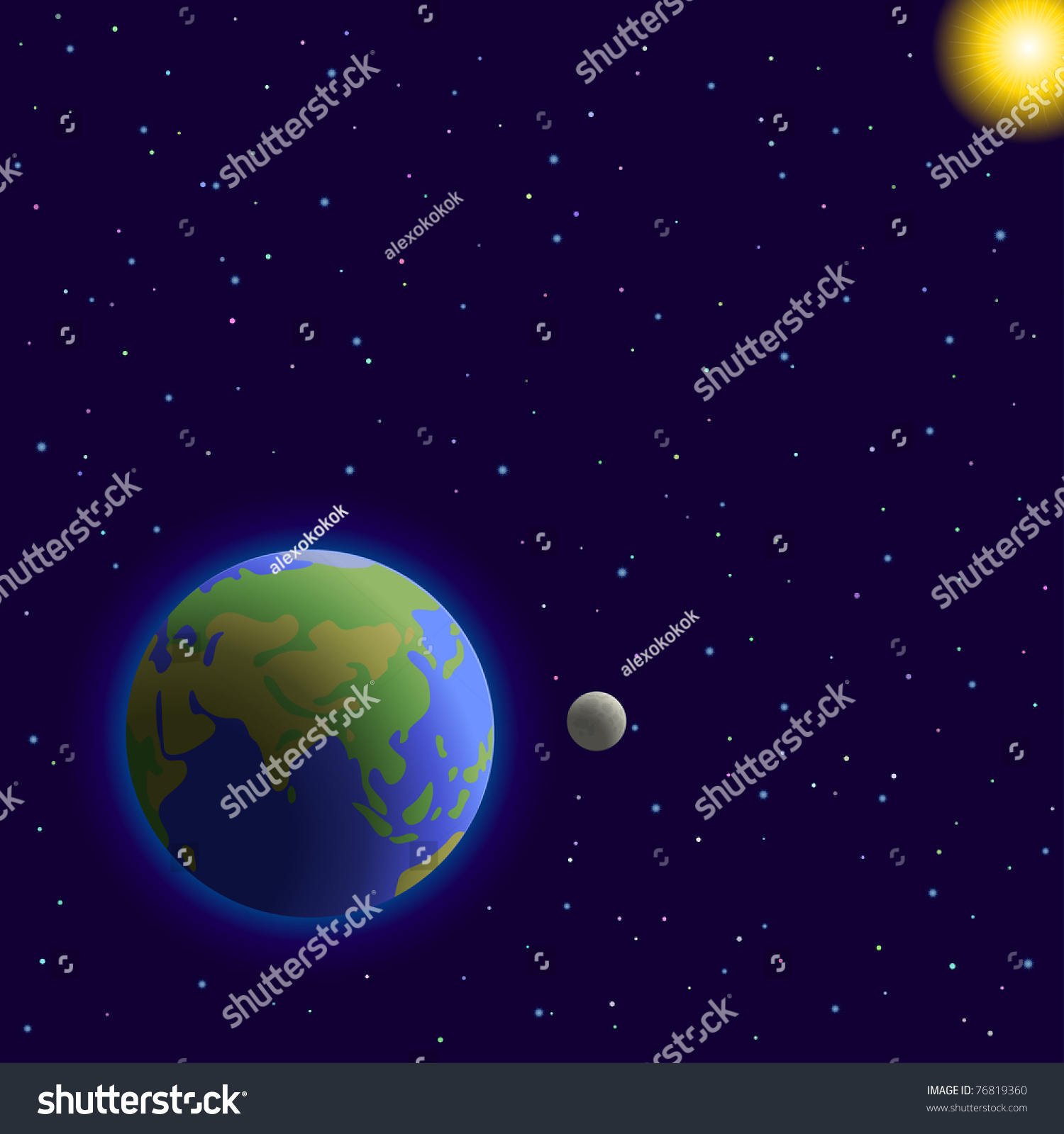 Vector Space Planets Mother Earth Moon Sun And Stars