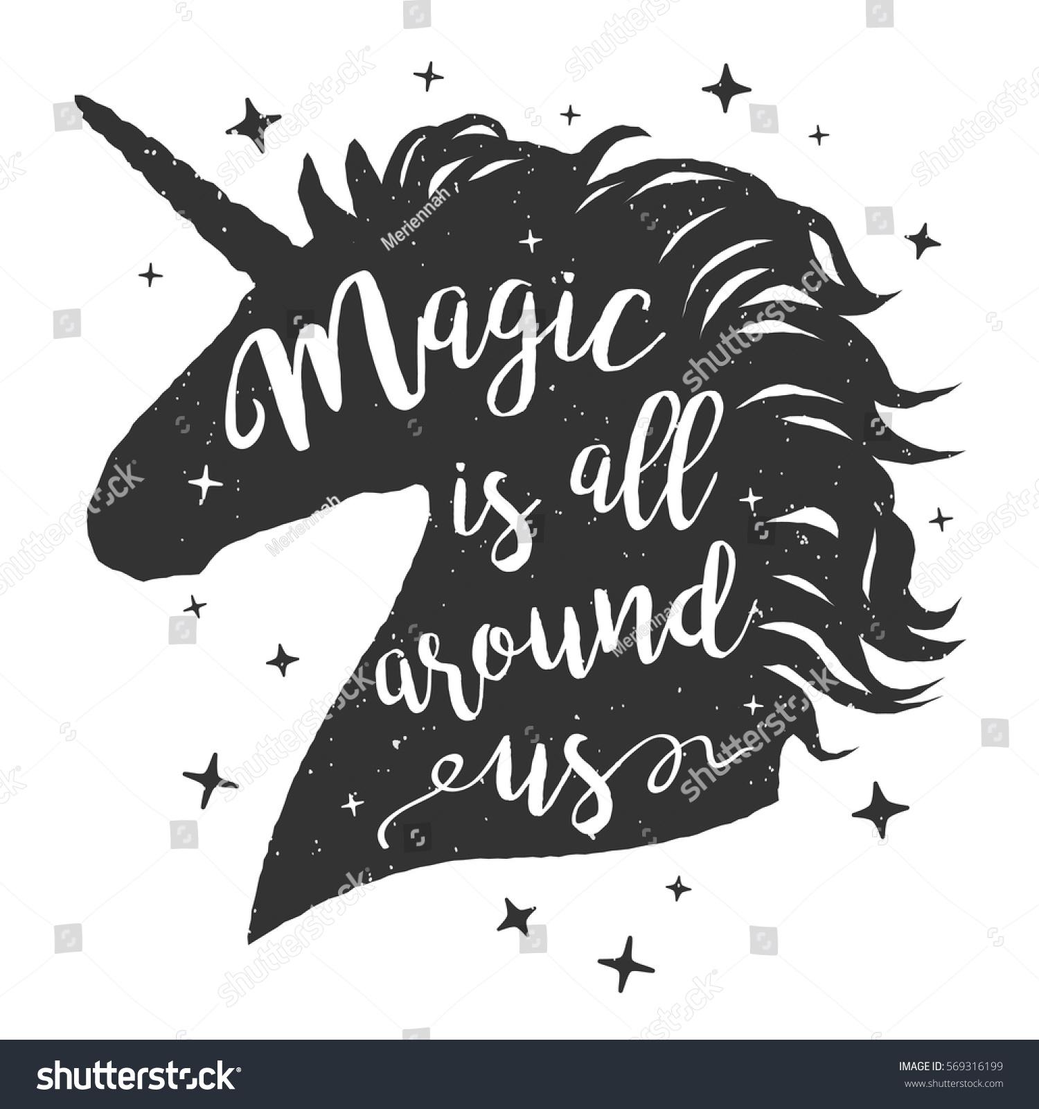 Vector Unicorn Head Silhouette Text Inspirational Stock
