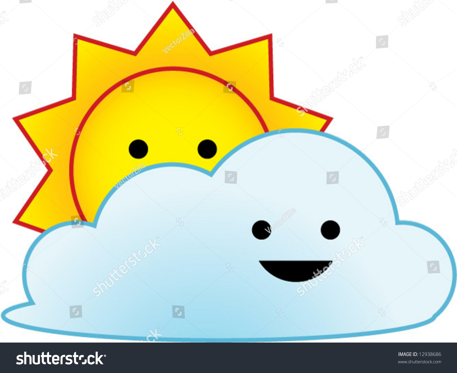 Vector Weather Icon Series Sunny Partial Stock Vector