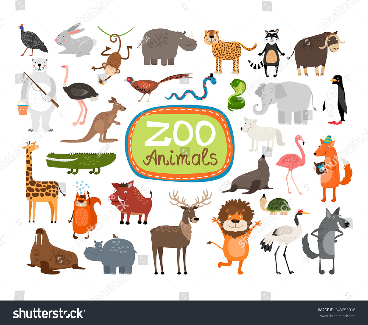 Vector Zoo Animals Many Different Animals Stock Vector
