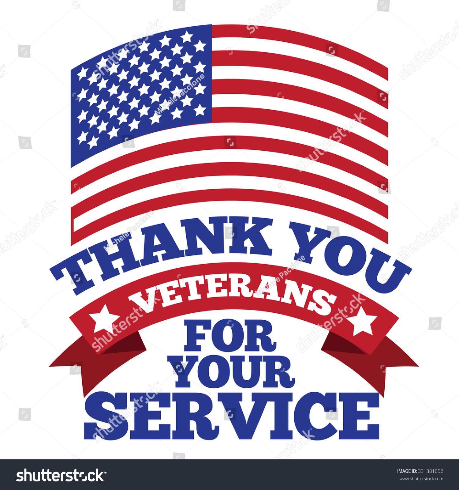 Veterans Day Flag Thanks Design Eps Stock Vector