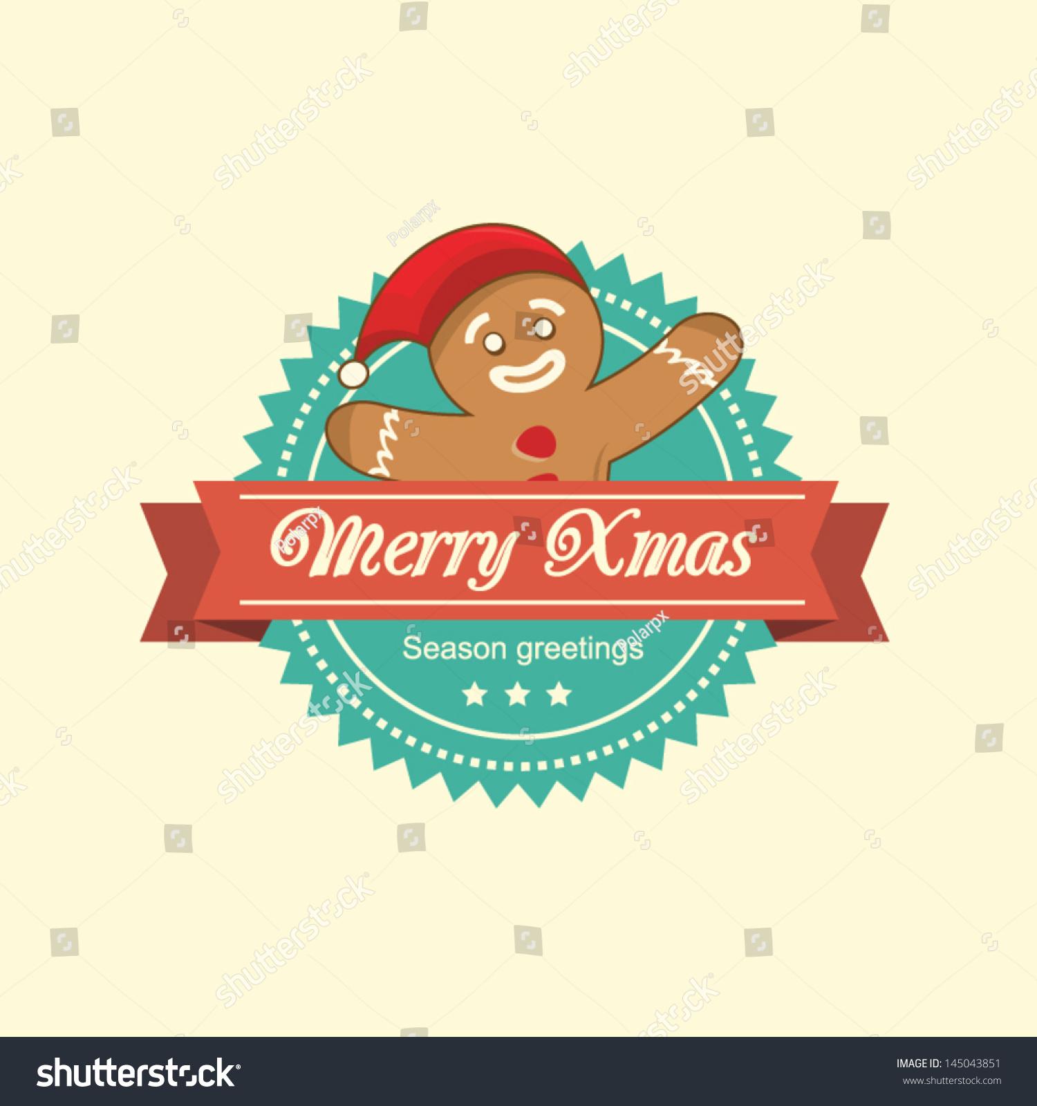 Vintage Christmas Label Gingerbread Man Stock Vector