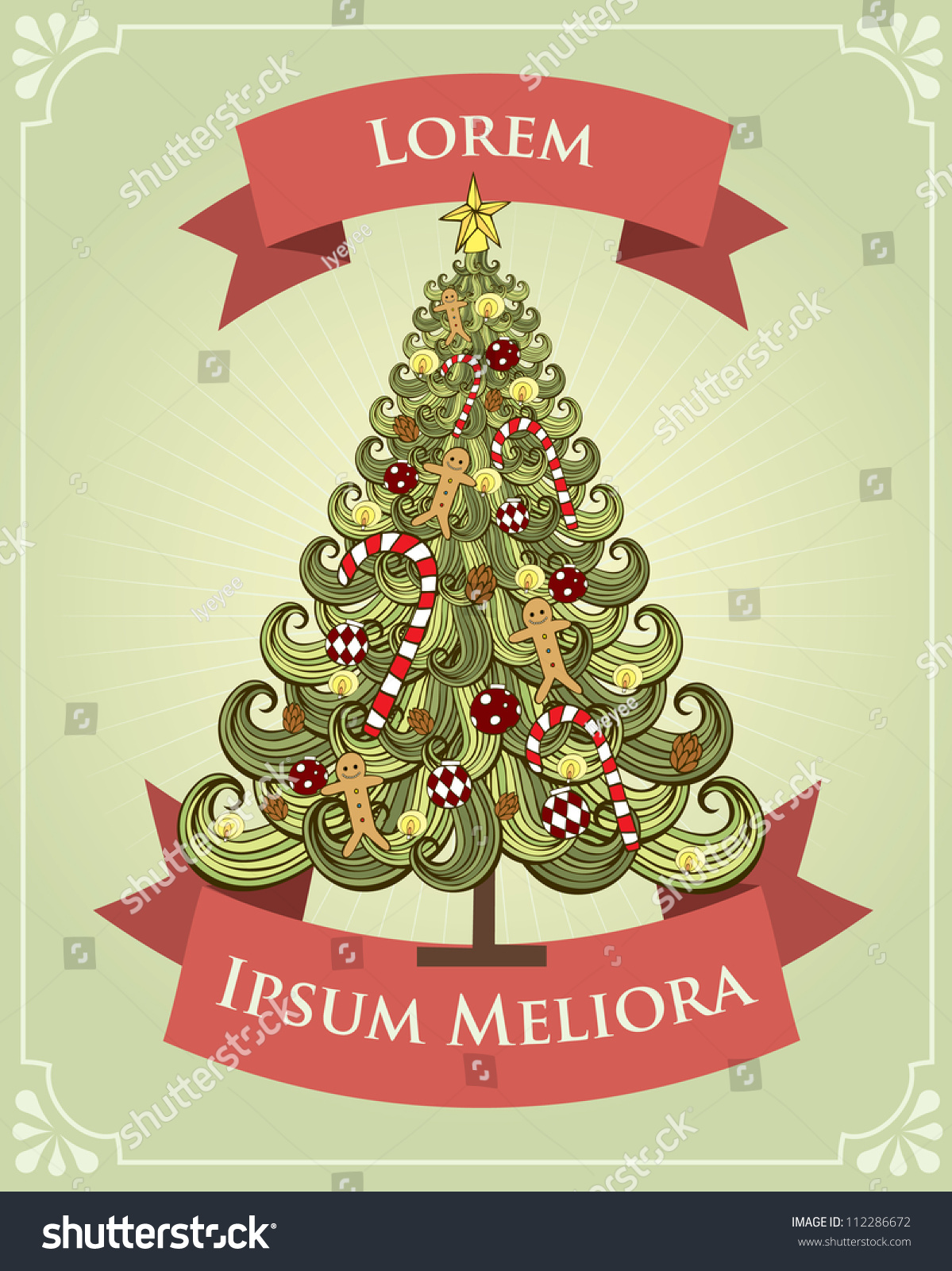 Vintage Christmas Tree Poster Template Vectorillustration