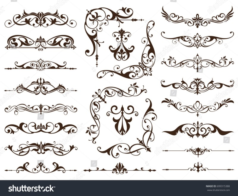 Vintage Frames Corners Borders With Delicate Swirls In Art Nouveau Decoration And Design Works