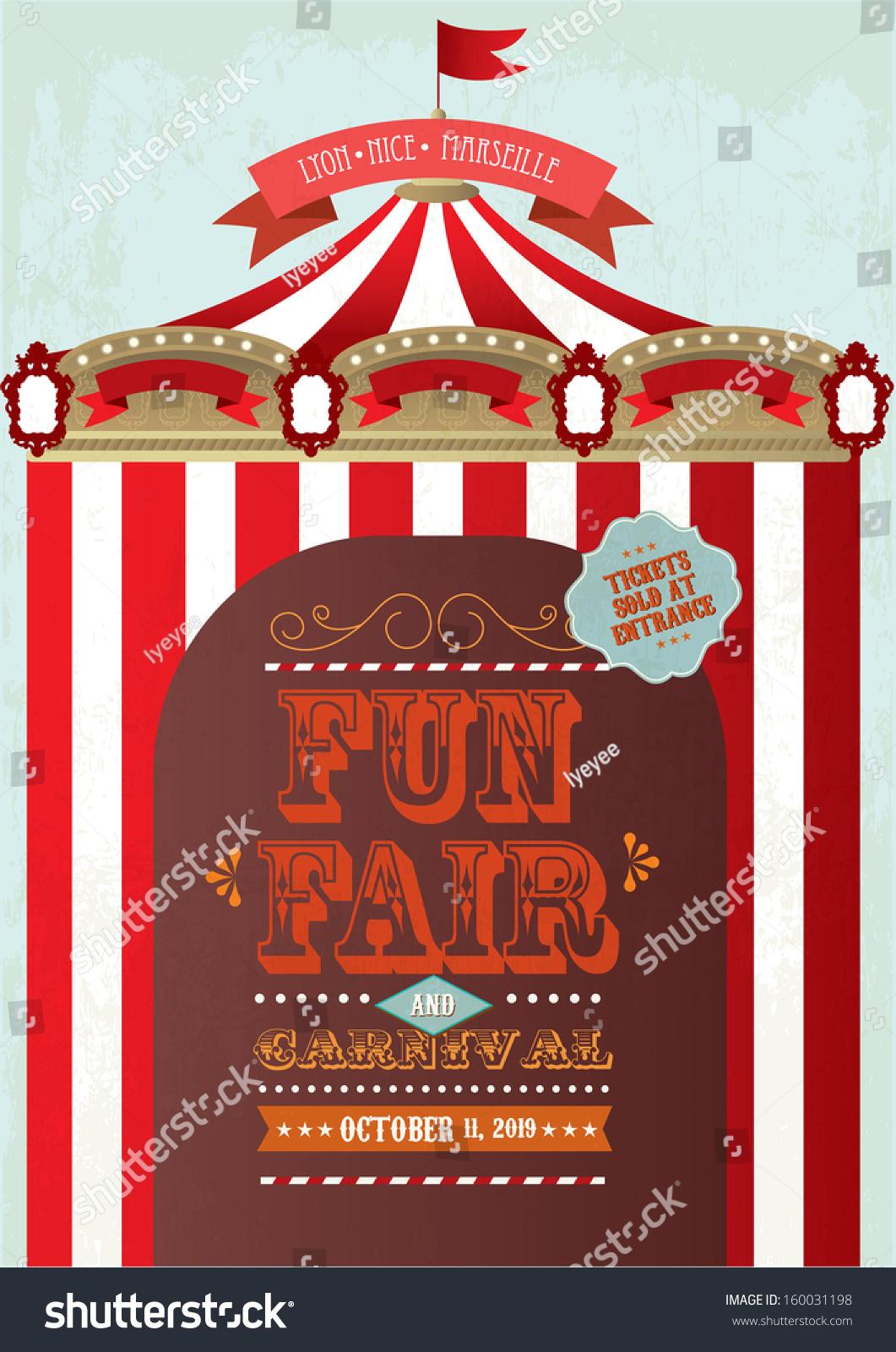 Vintage Fun Fair Carnival Tent Poster Stock Vector
