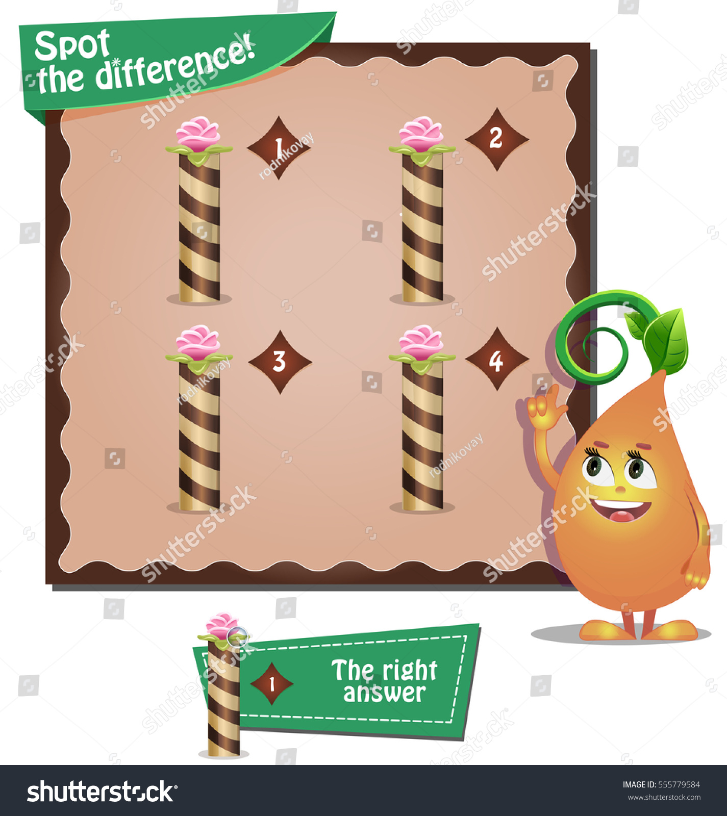 Visual Game Children Task Spot Difference Stock Vector