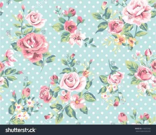 Wallpaper Seamless Vintage Pink Flower Pattern Stock