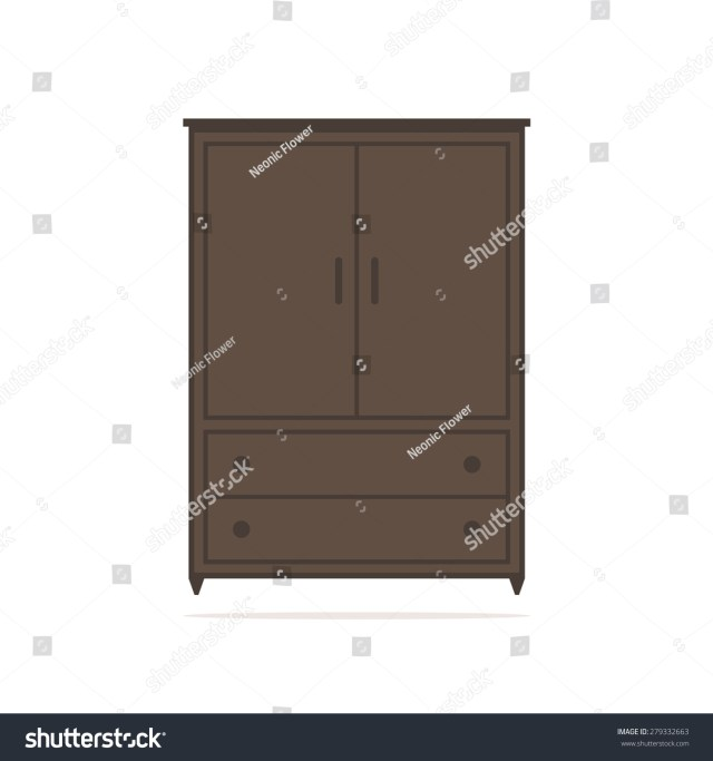 Wardrobe Isolated Icon Brown Wardrobe Stock Vector