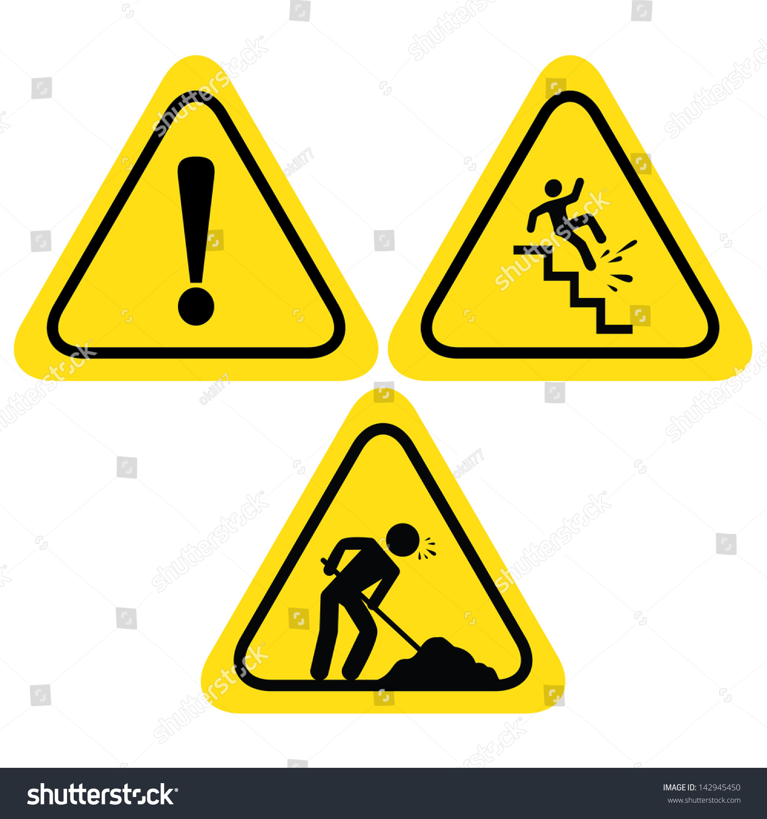 Warning Safety Signs Under Construction Road Stock Vector