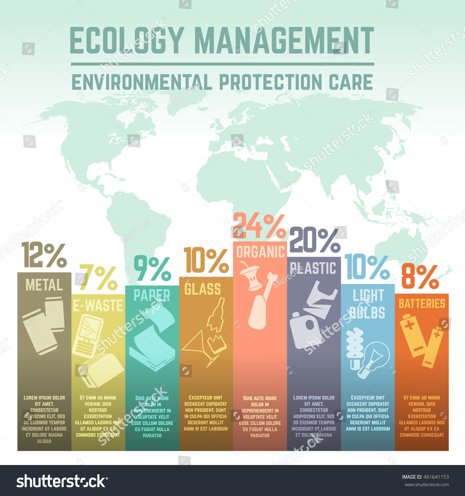Waste Ecology Management Environmental Protection Infographics Stock Vector