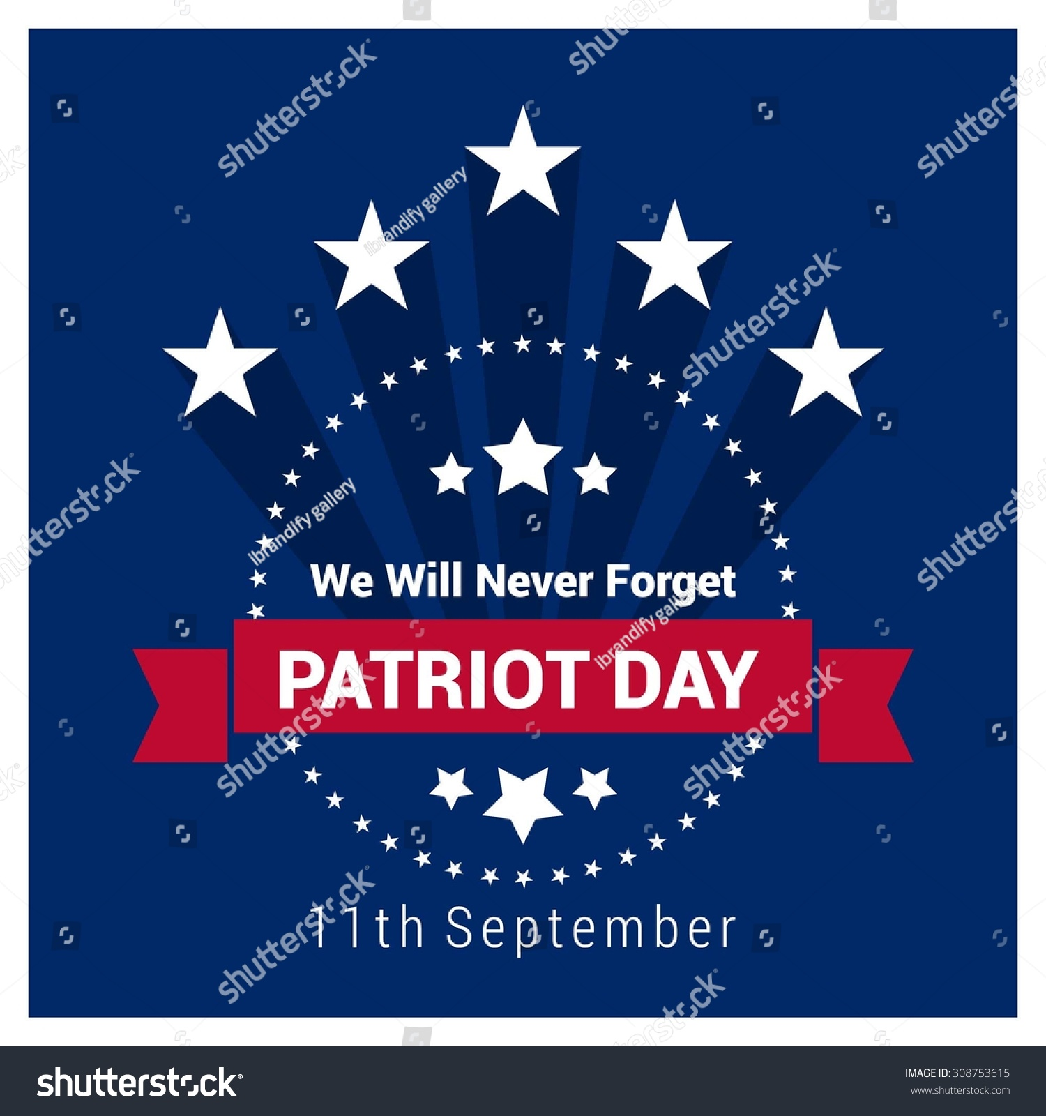 We Will Never Forget Patriot Day Vintage Label Design 9
