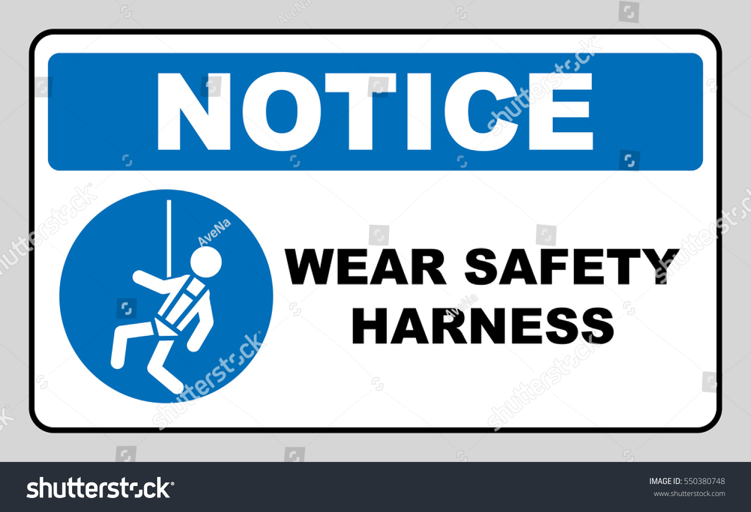Wear Safety Harness Sign Stock Vector