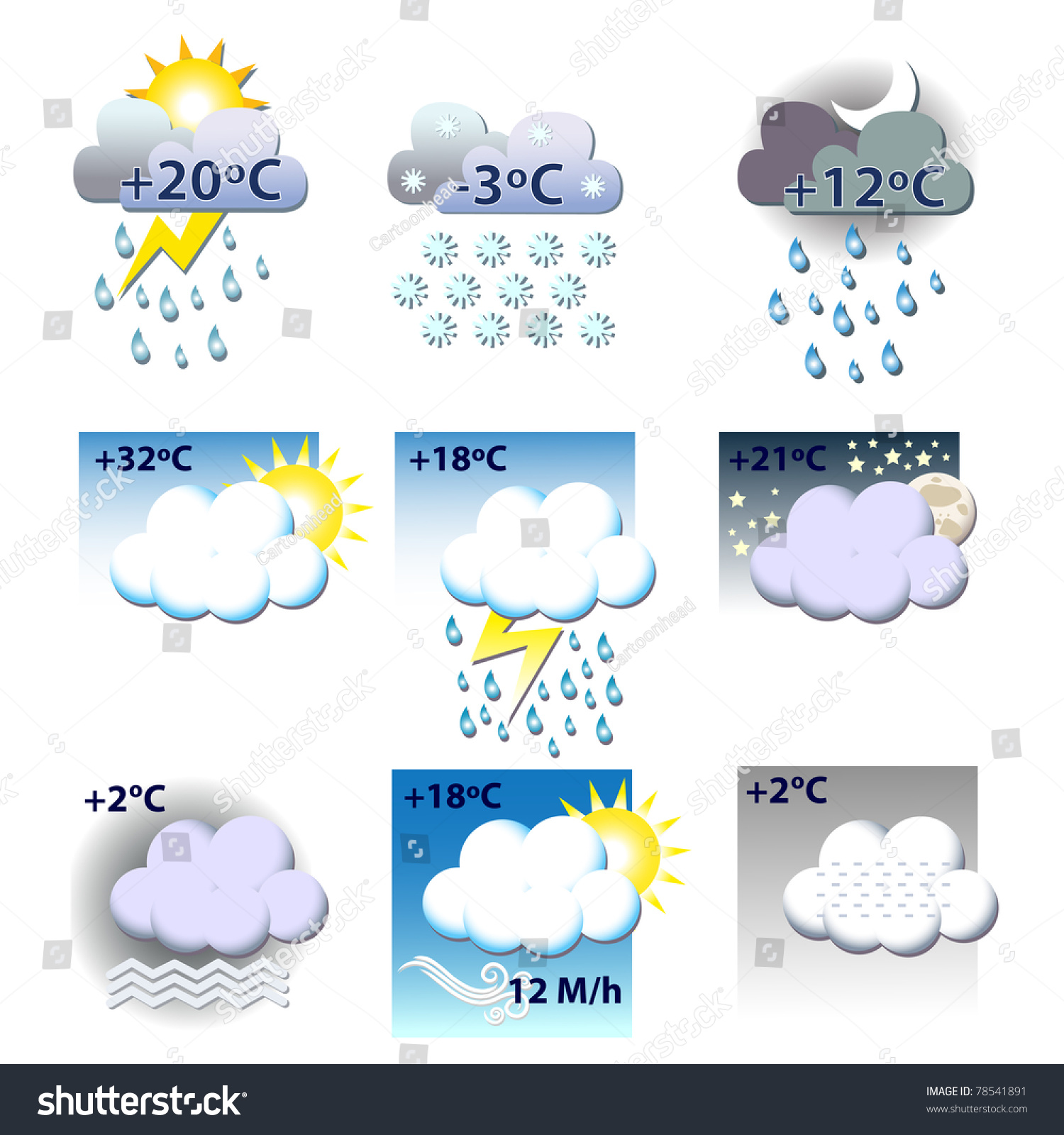 Weather Icons All Seasons All Kind Stock Vector