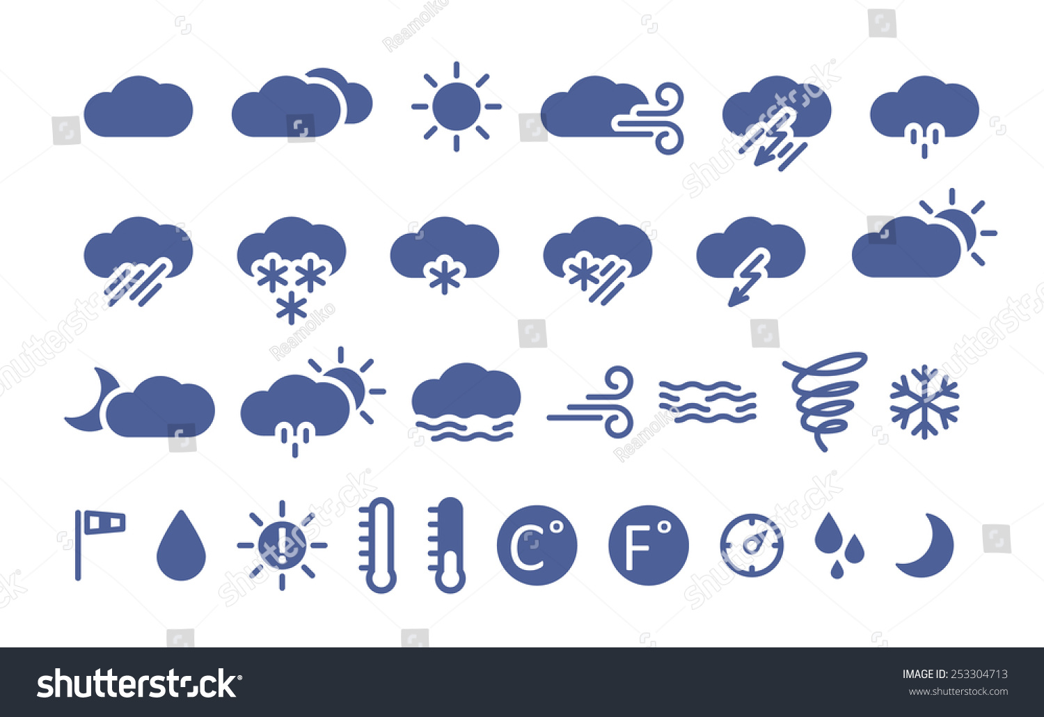 Weather Icons Simple Flat Style Illustration Stock Vector