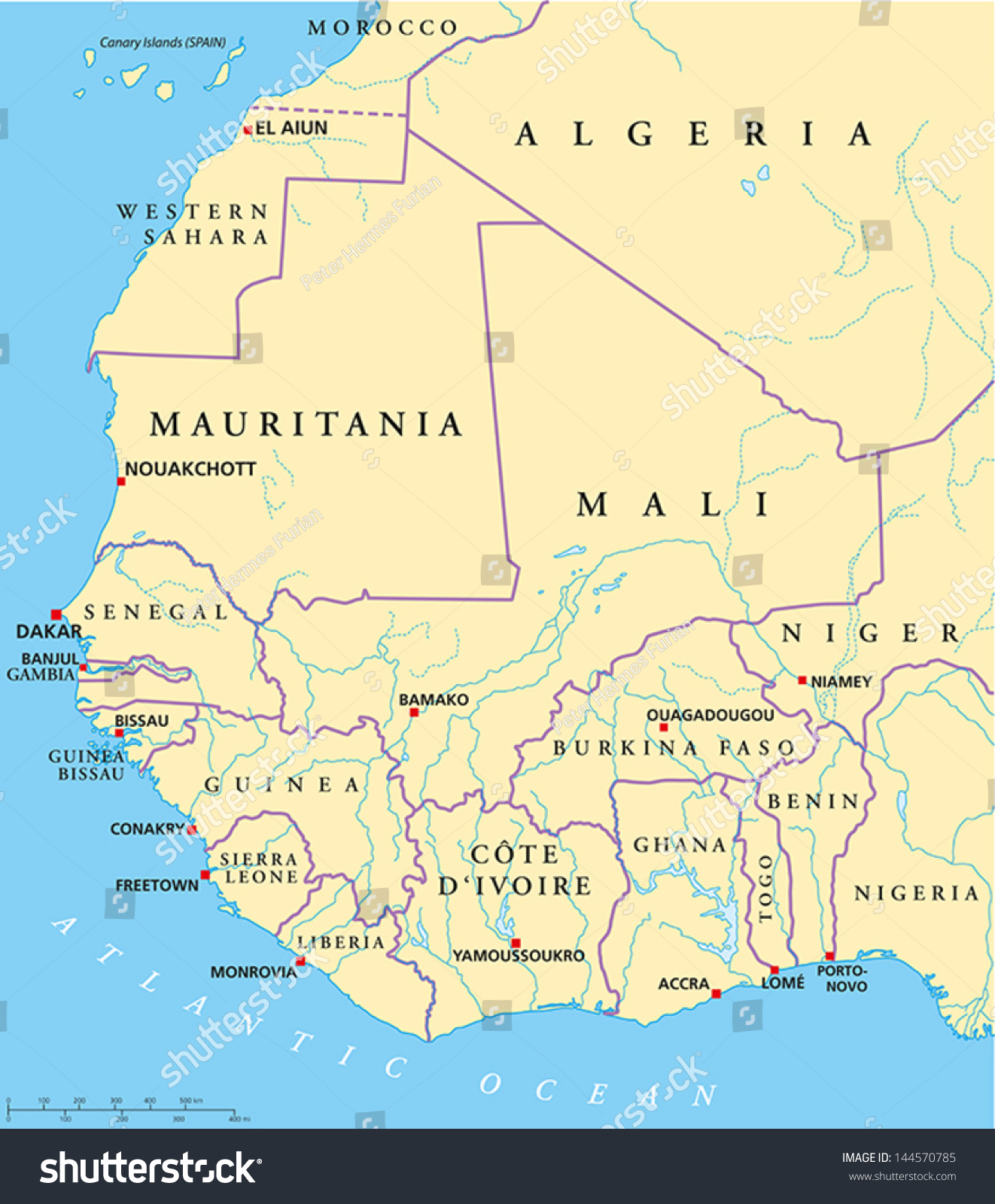 West Africa Map Hand Drawn Map With Capitals National
