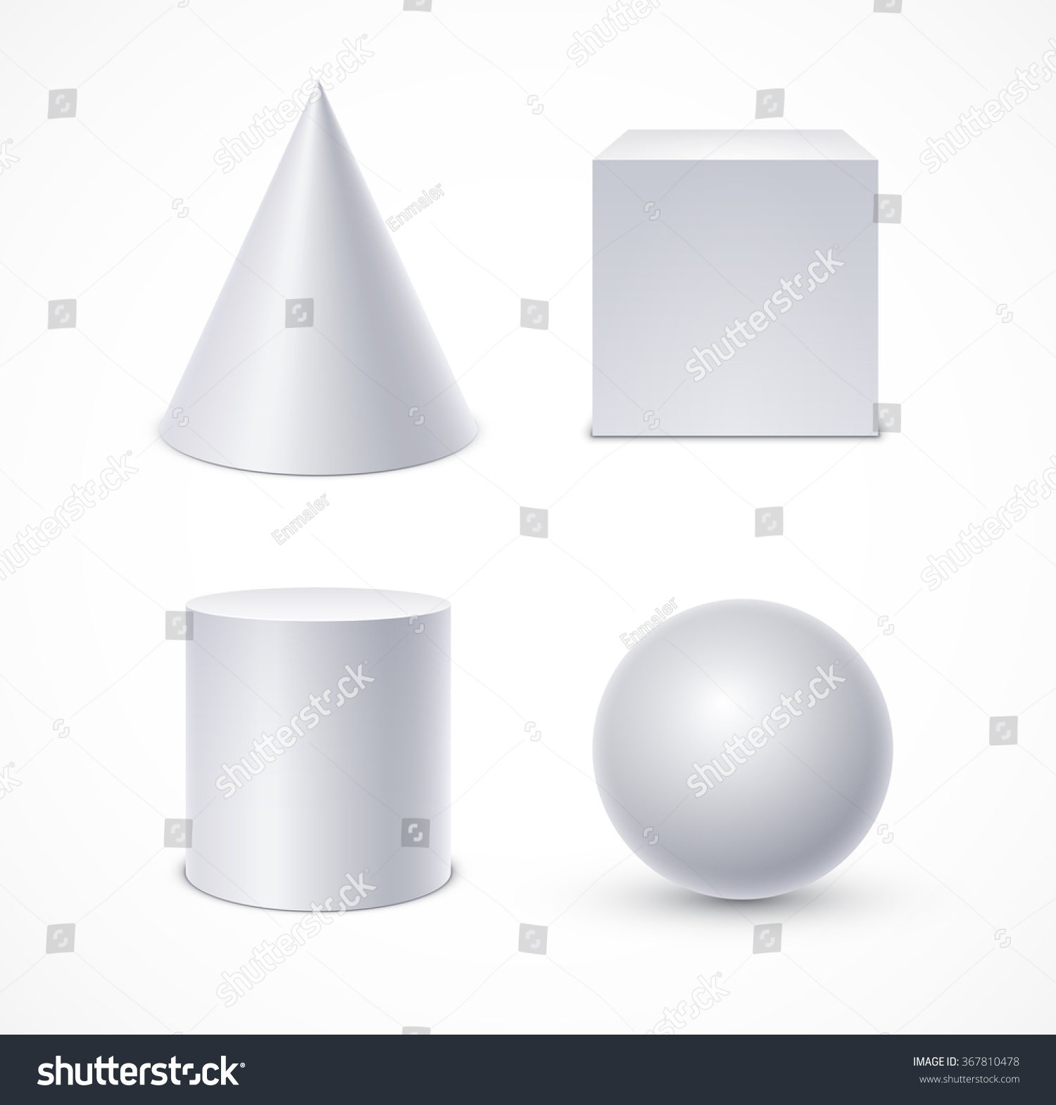 White Geometric Shapes Cone Cube Cylinder Sphere