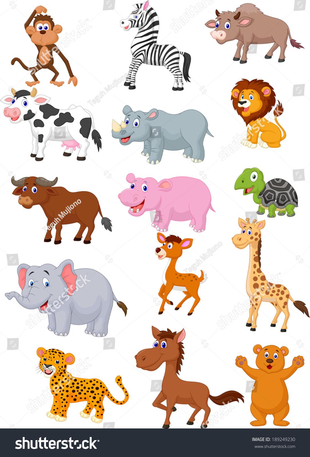 Wild Animal Cartoon Collection Stock Vector