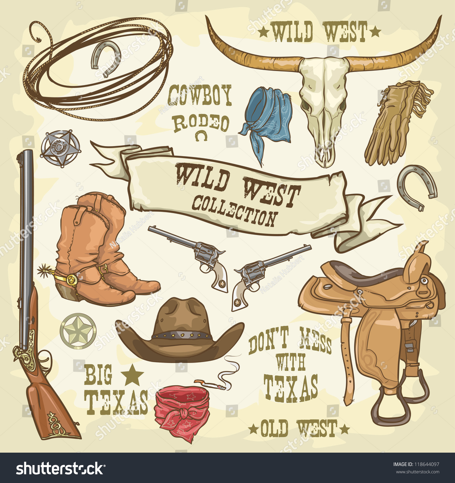Wild West Collection Cowboy Stuff Isolated Stock Vector