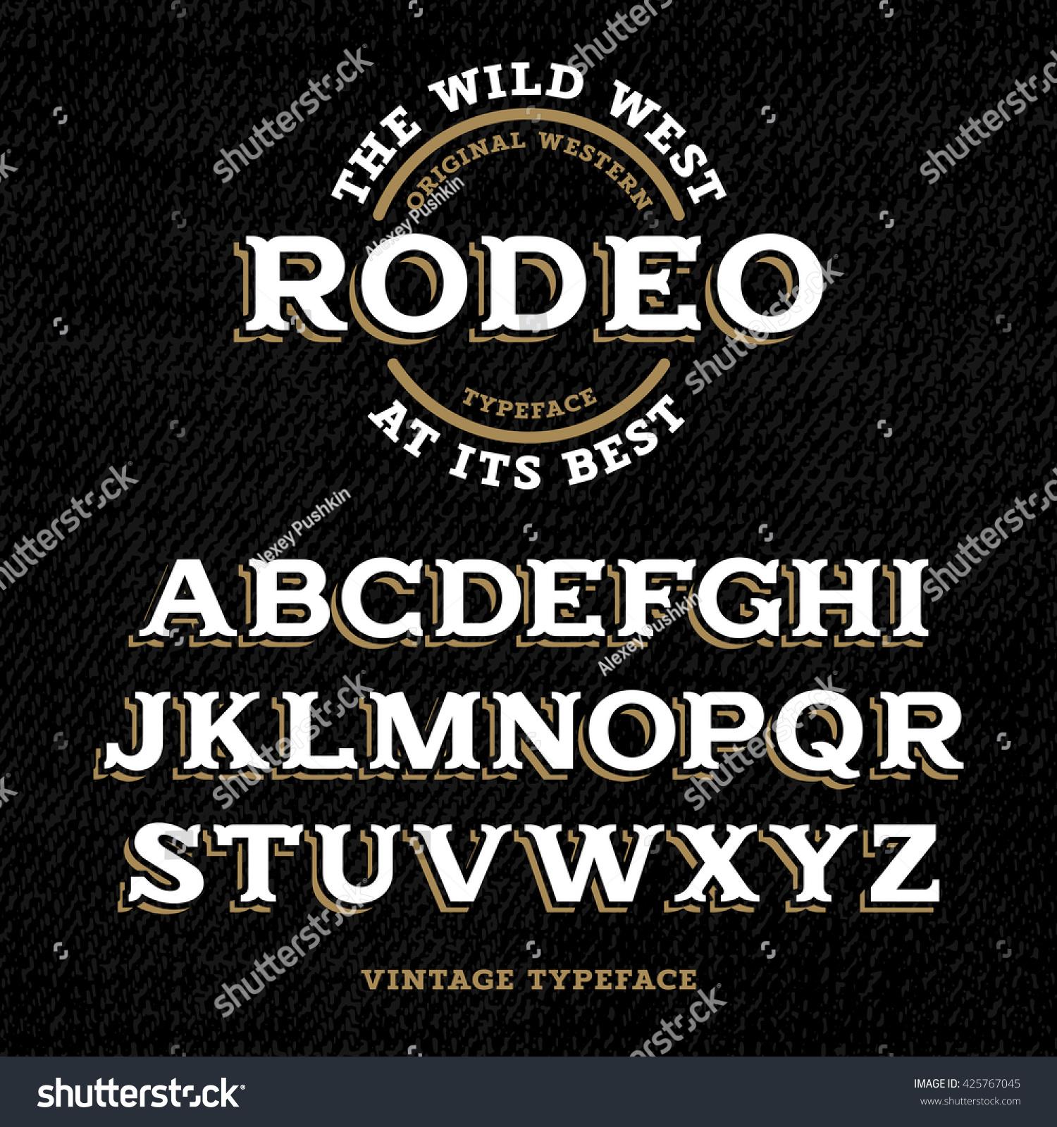 Wild West Typeface Retro Alphabet Western Stock Vector