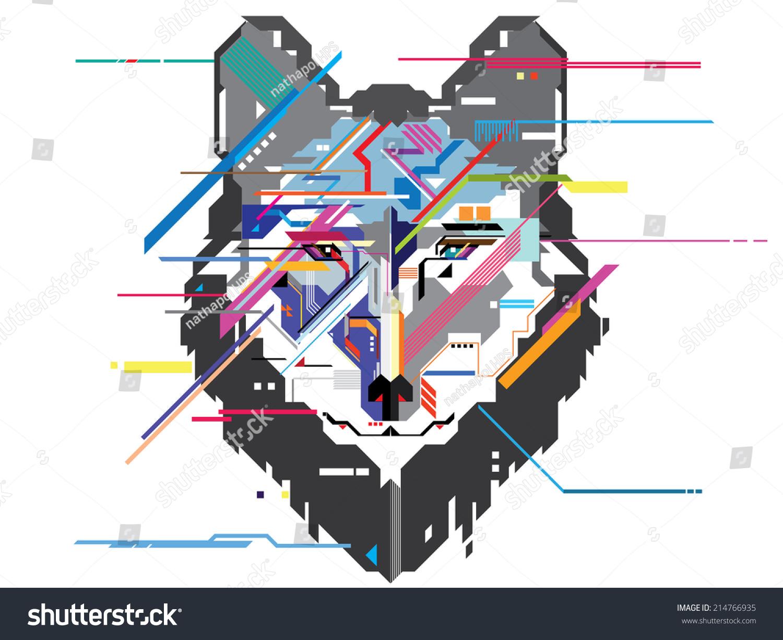 Wolf Head In Geometric Pattern Vector