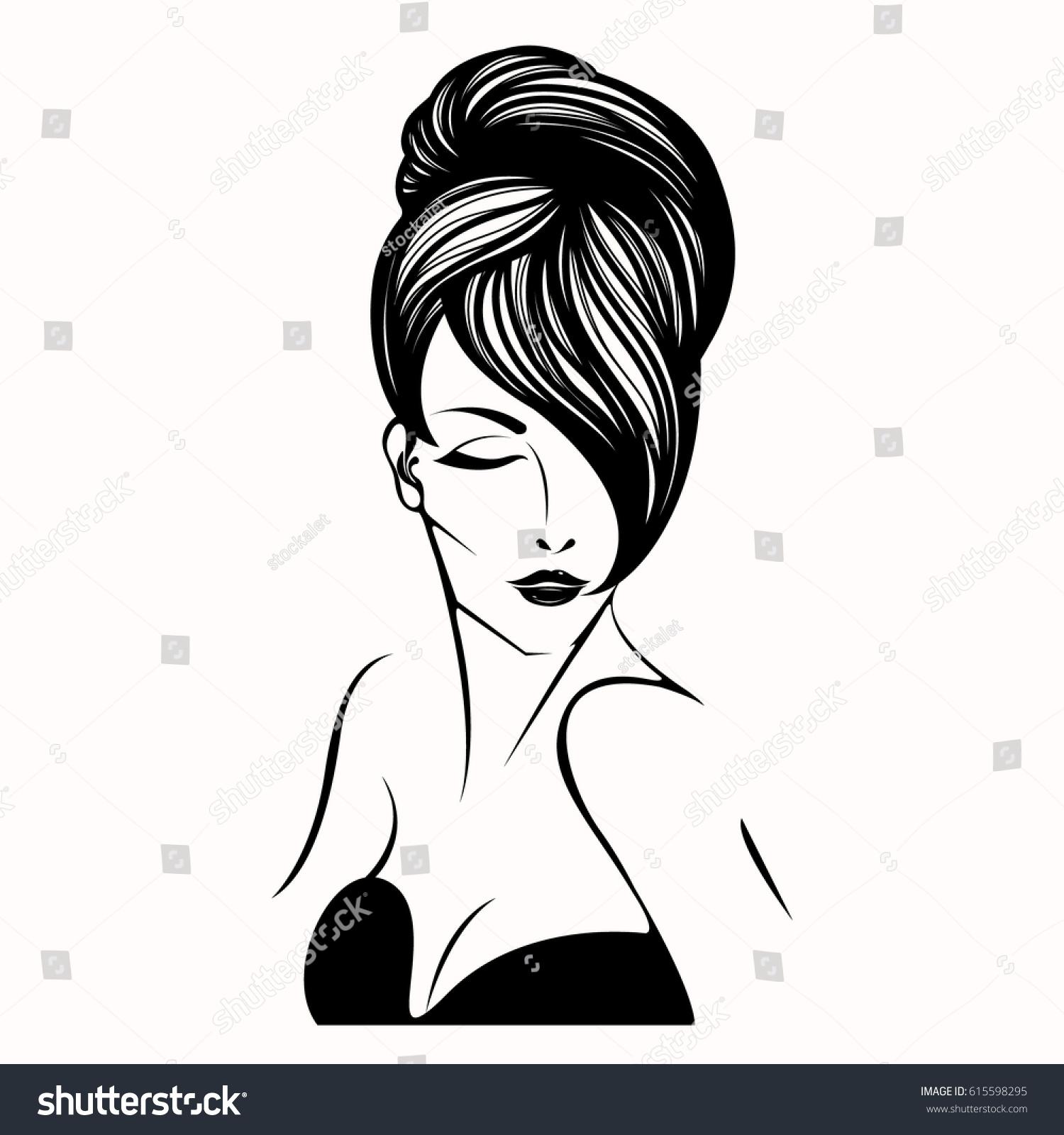 Woman Elegant Bun Hairstyle Vector Art Stock Vector