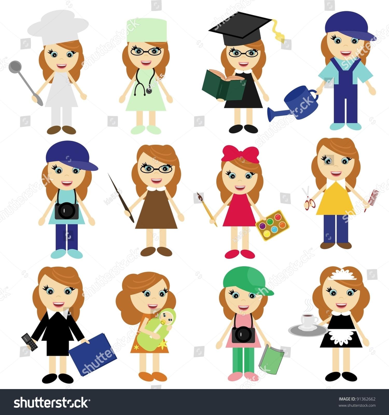 Women Different Jobs Stock Vector