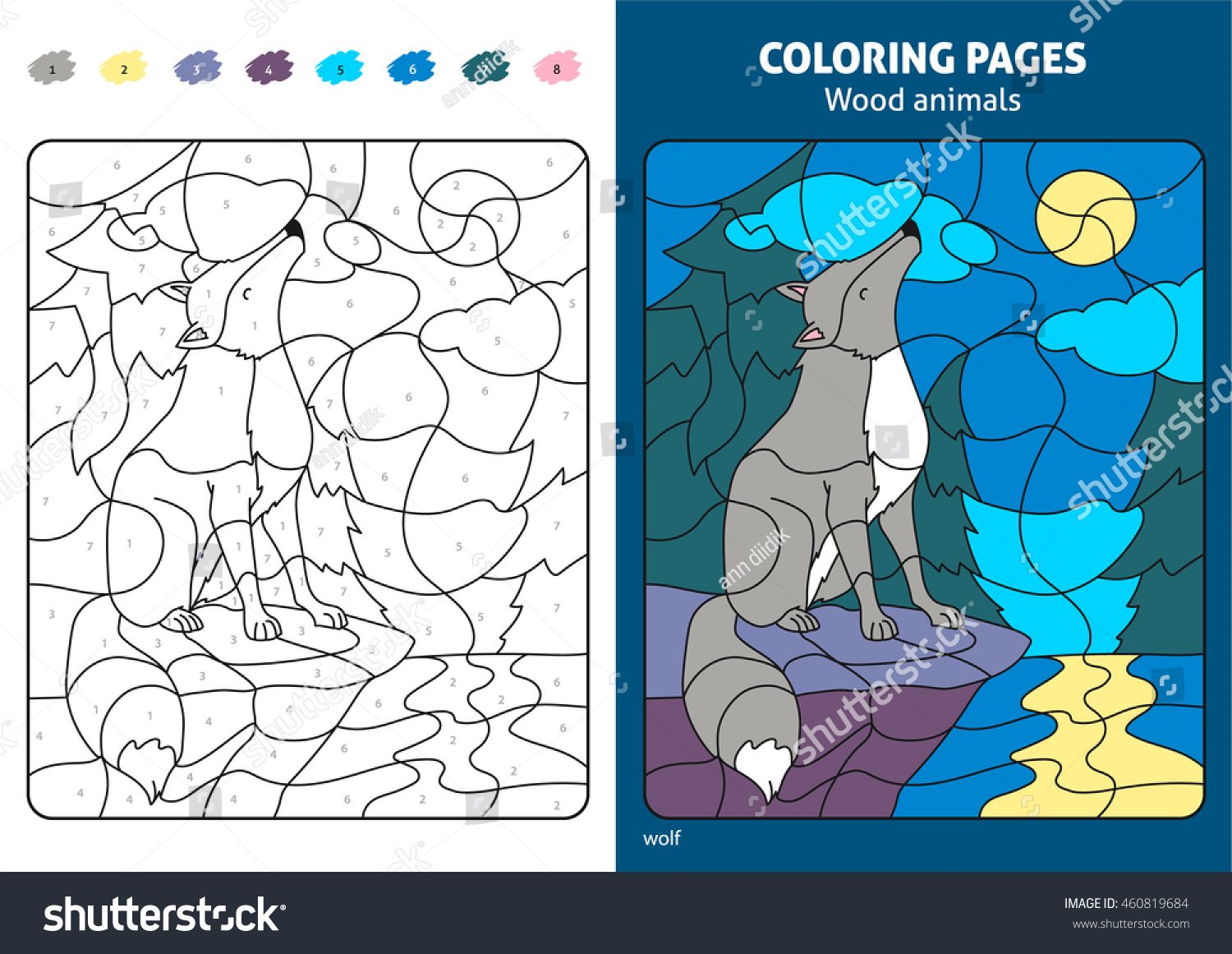 Wood Animals Coloring Page Kids Wolf Stock Vector