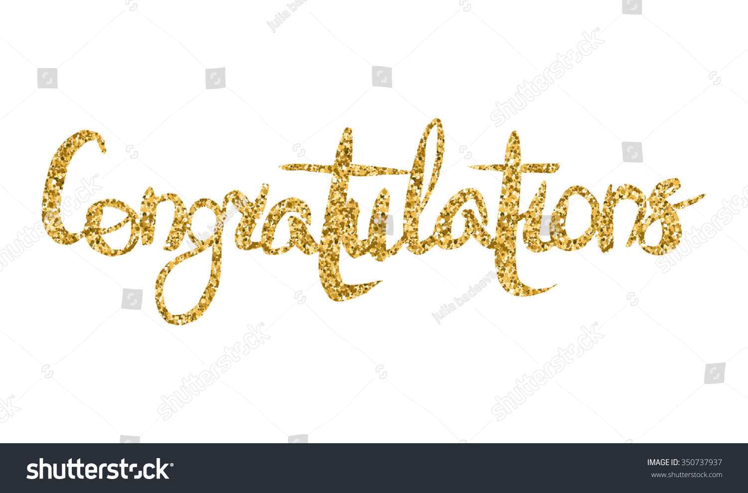 Word Congratulations Gold Texture Hand Lettering Stock