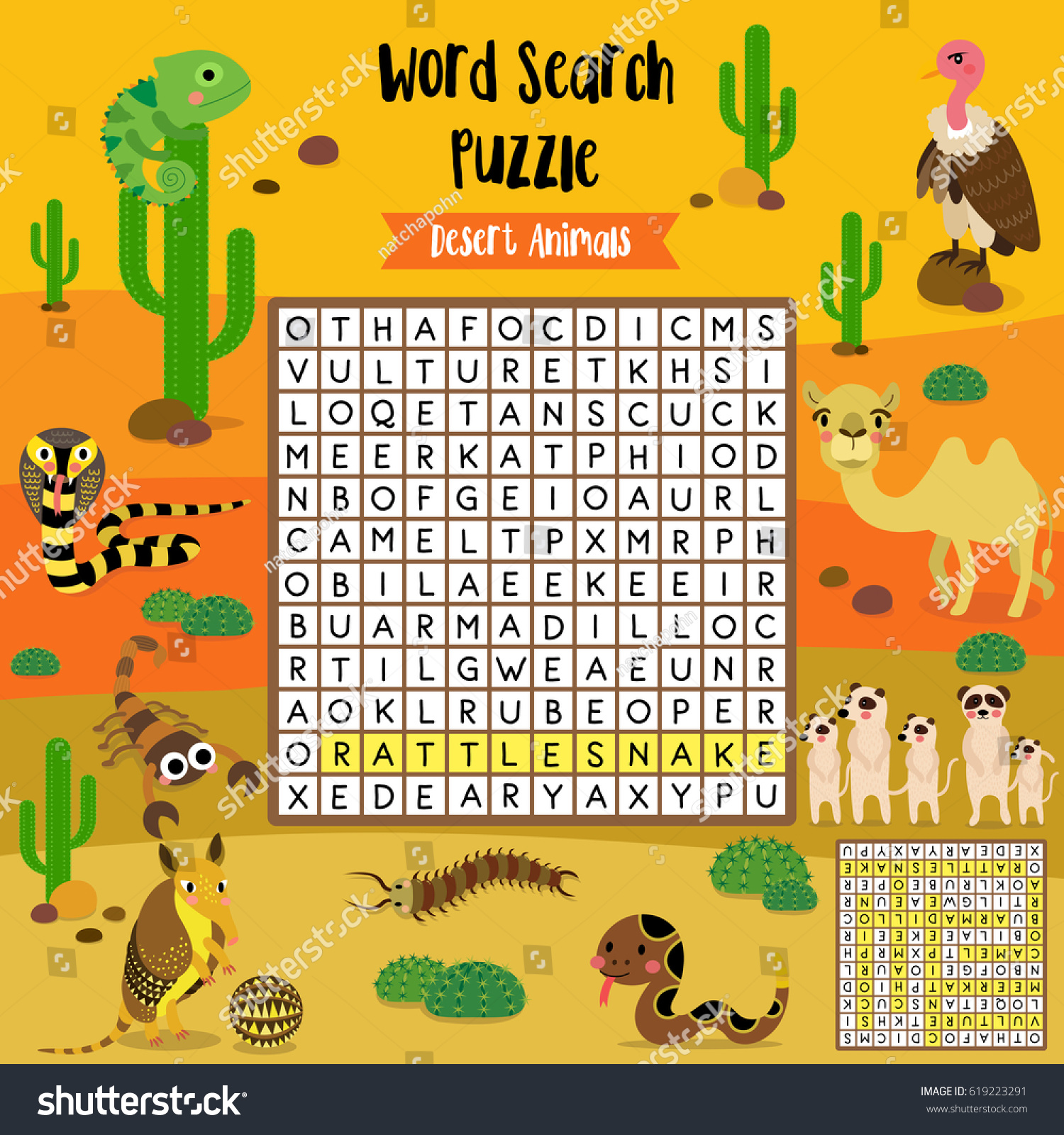 Words Search Puzzle Game Desert Animals Stock Vector