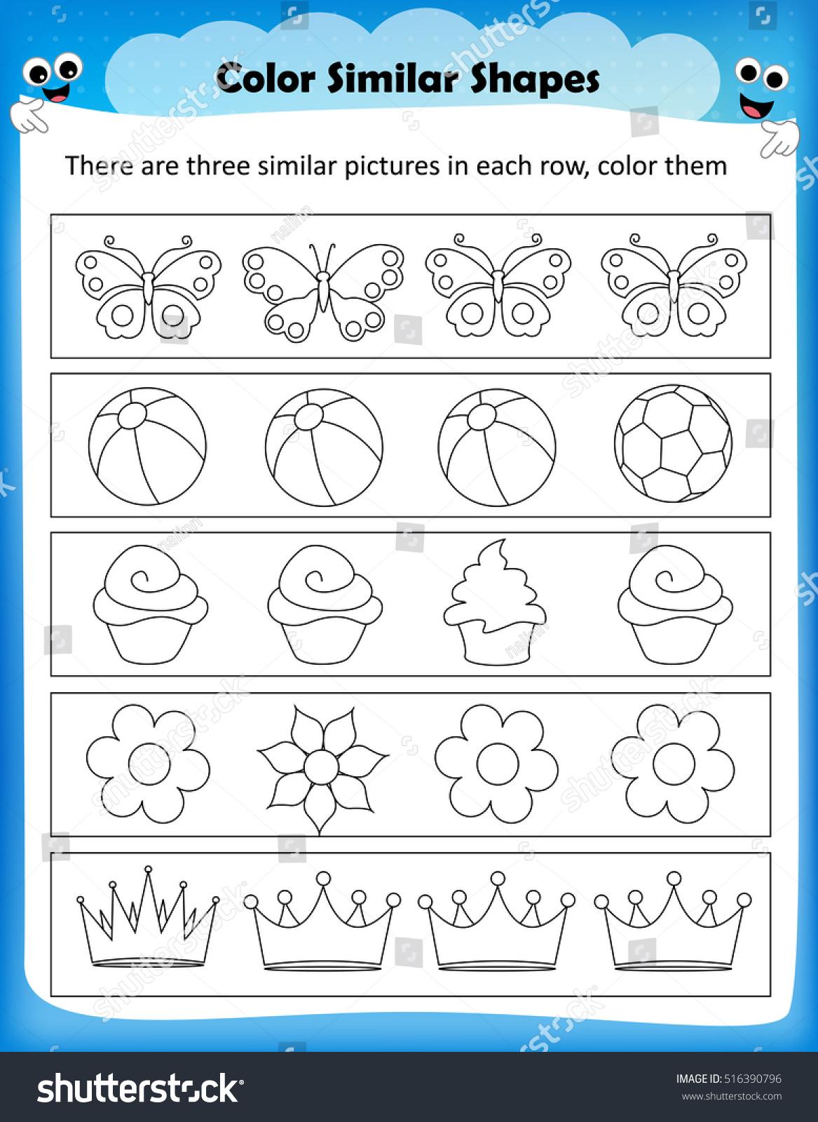Worksheet Color Similar Shapes Kids Worksheet Stock Vector