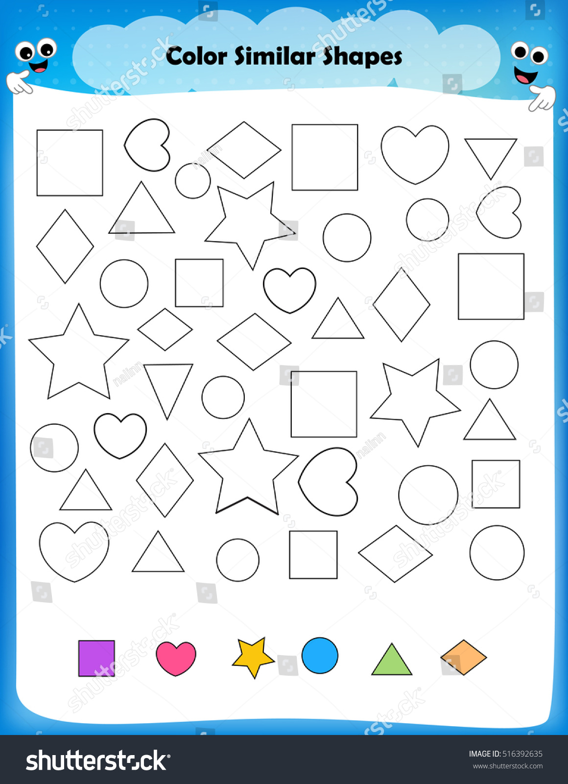 Worksheet Color Similar Shapes Worksheet Preschool Stock
