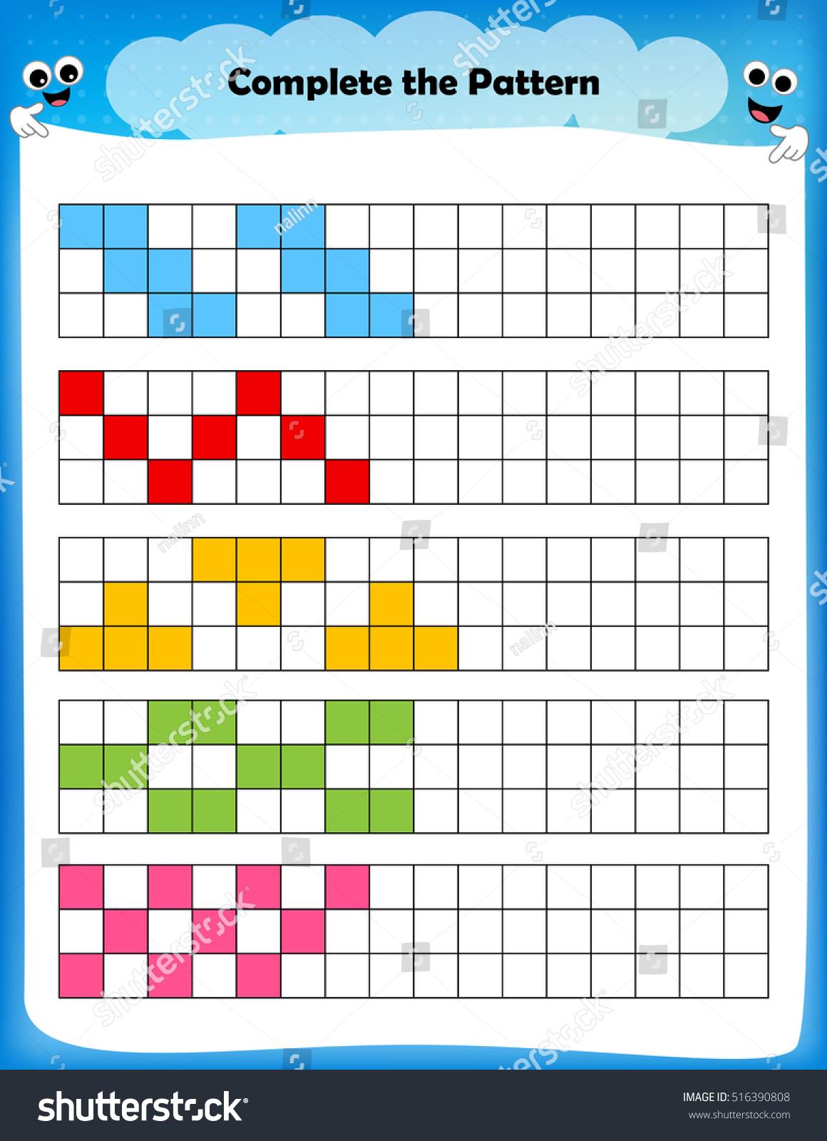 Worksheet Complete Pattern Worksheet Preschool Kids Stock
