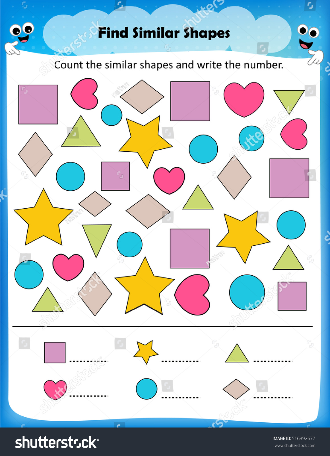 Worksheet Count Similar Shapes Worksheet Preschool Stock Vector
