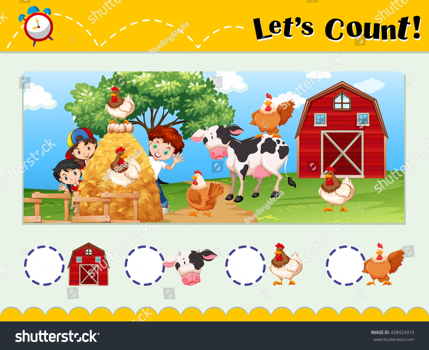Worksheet Design Counting Animals Stock Vector