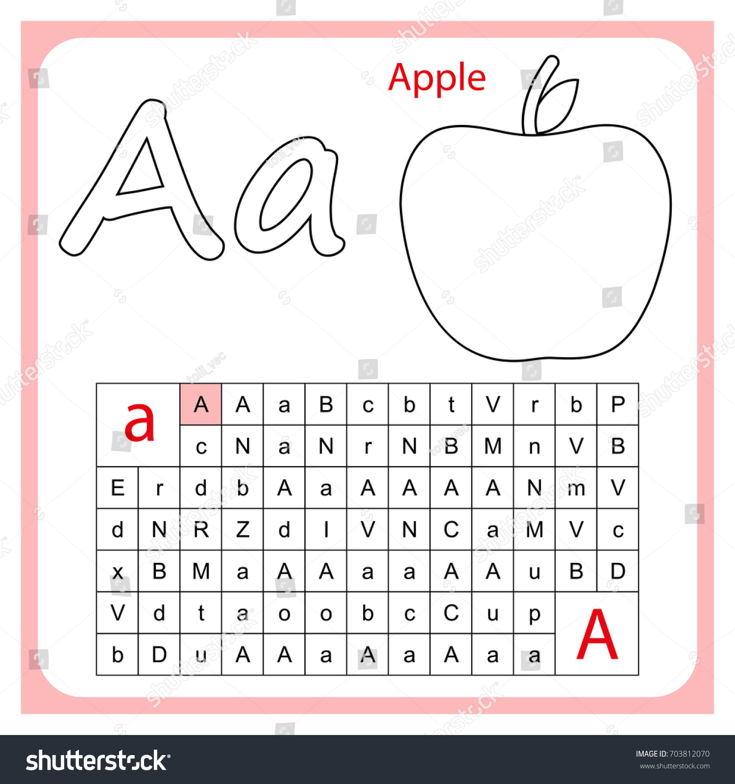 Worksheet Learning Alphabet Worksheet Preschool Children Stock Vector