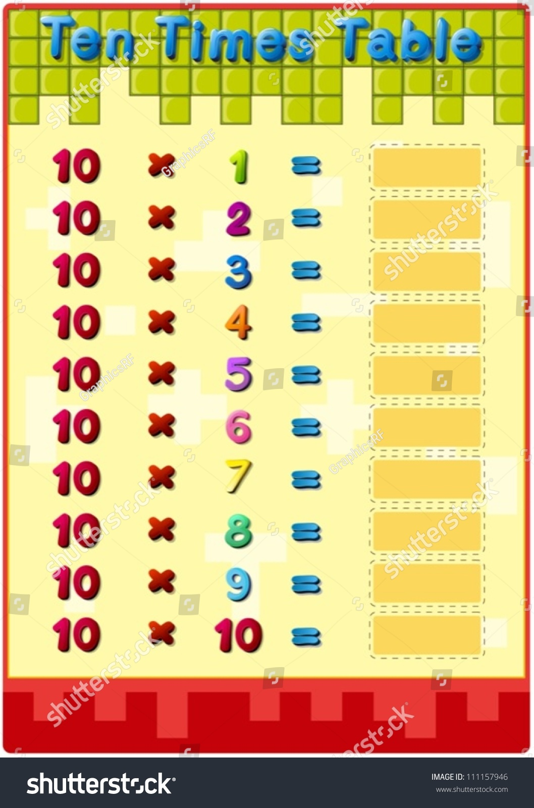 Worksheet 10 Times Tables Stock Vector
