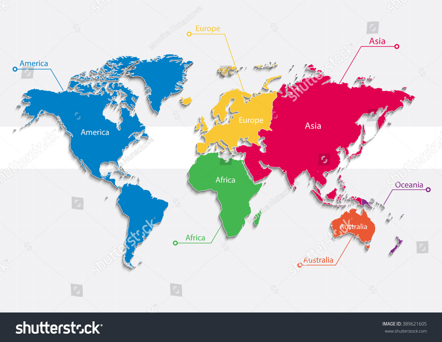 World Map Continents Colors Vector Individual Stock Vector