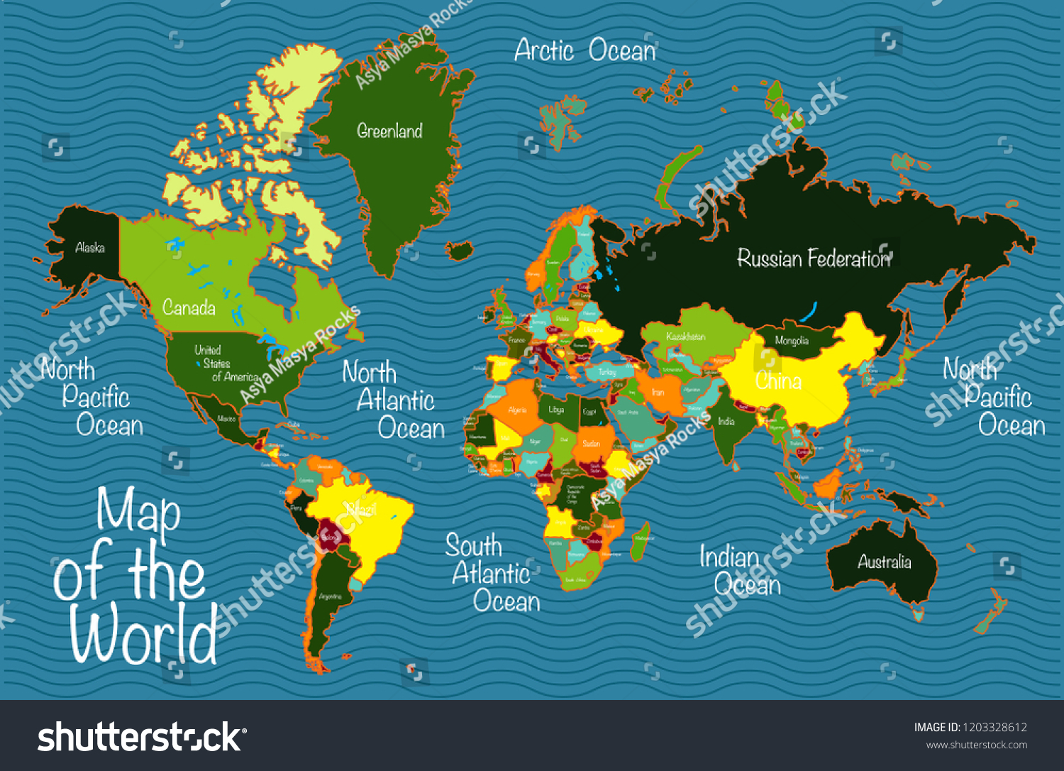 World Map All Countries Oceans Stock Vector Royalty Free 1203328612