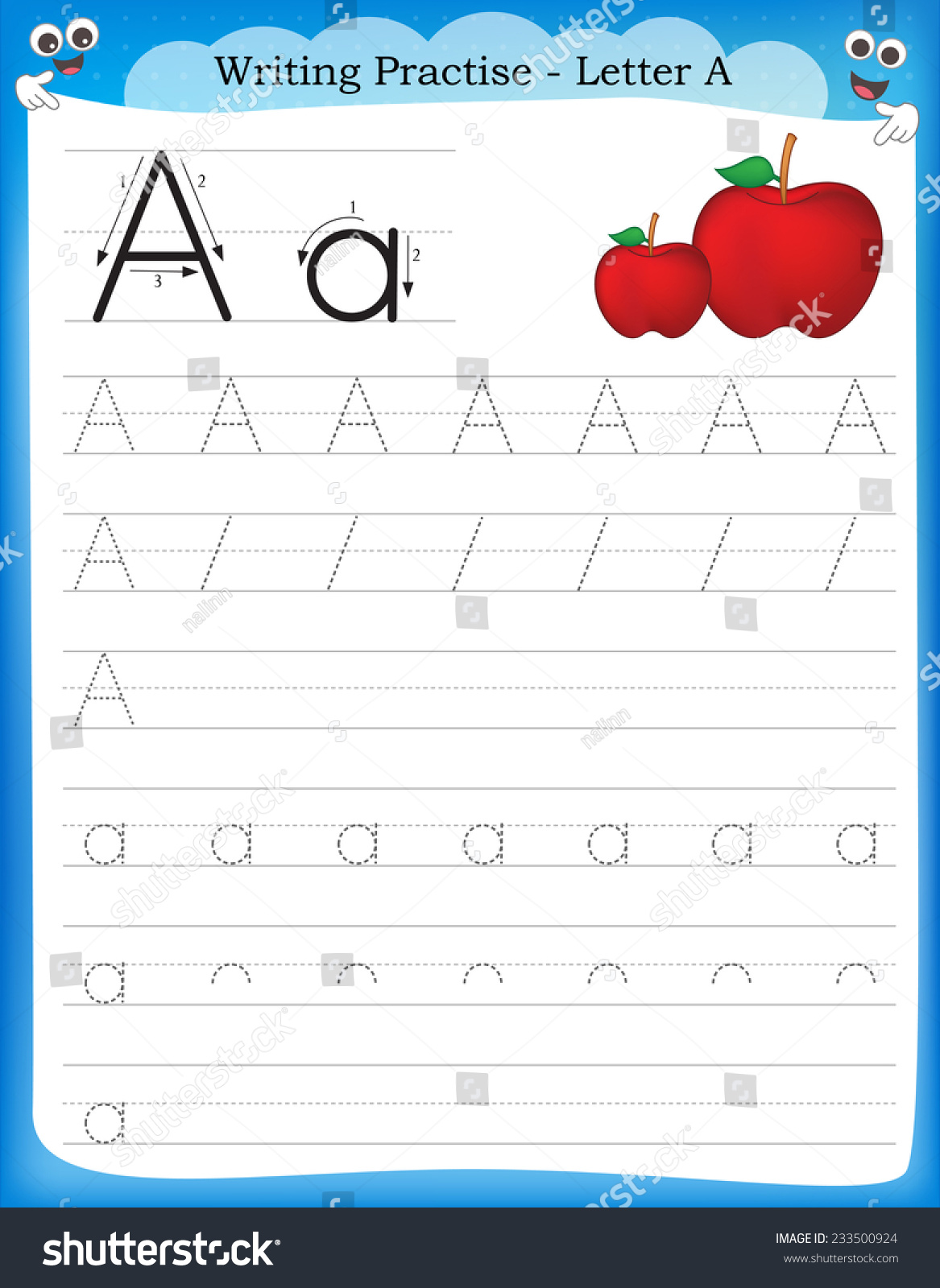 Writing Practice Letter Printable Worksheet Preschool Stock Vector